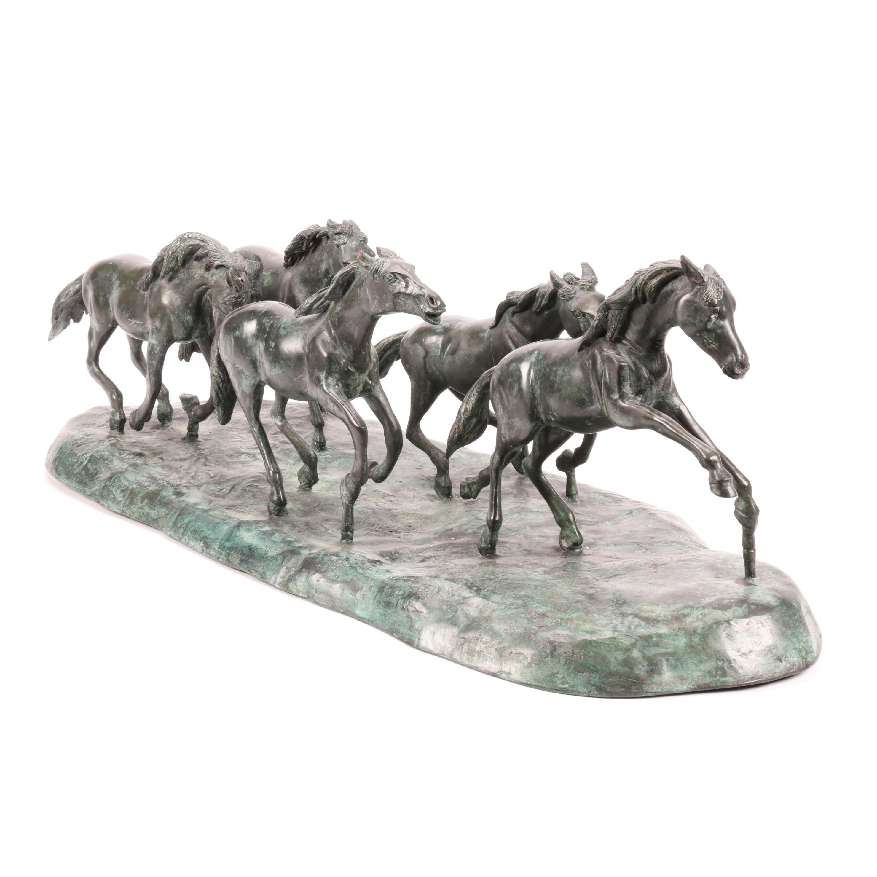 Cast Metal Galloping Wild Horses Statue or Sculpture