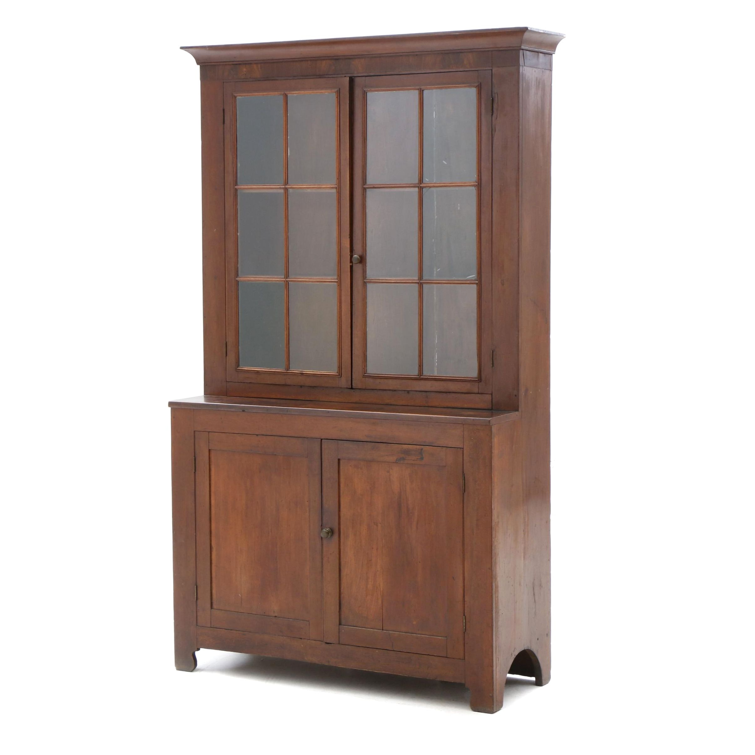 American Federal Cherry and Mahogany Cupboard, circa 1830