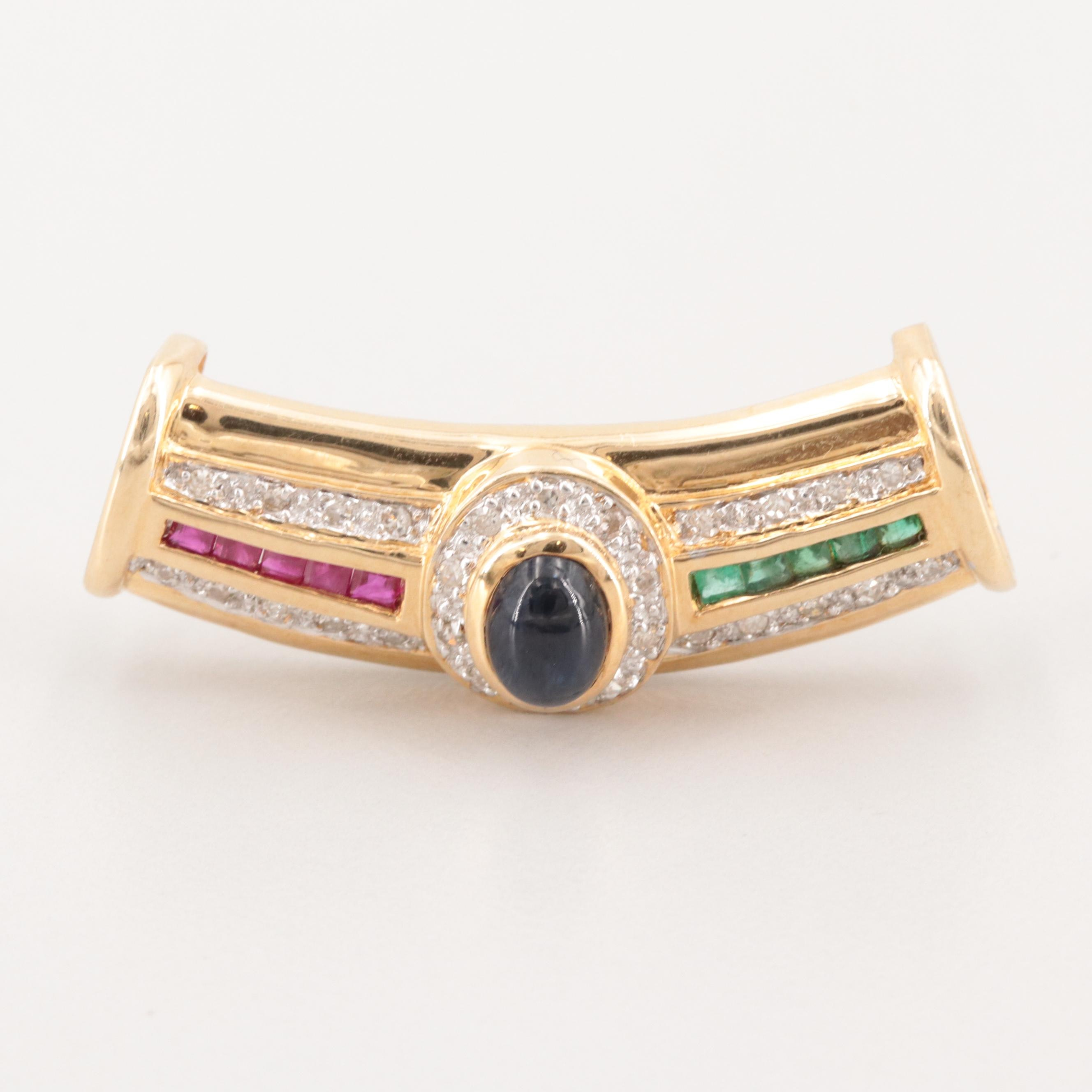 14K Yellow Gold Blue Sapphire, Ruby, Emerald and Diamond Slide Pendant