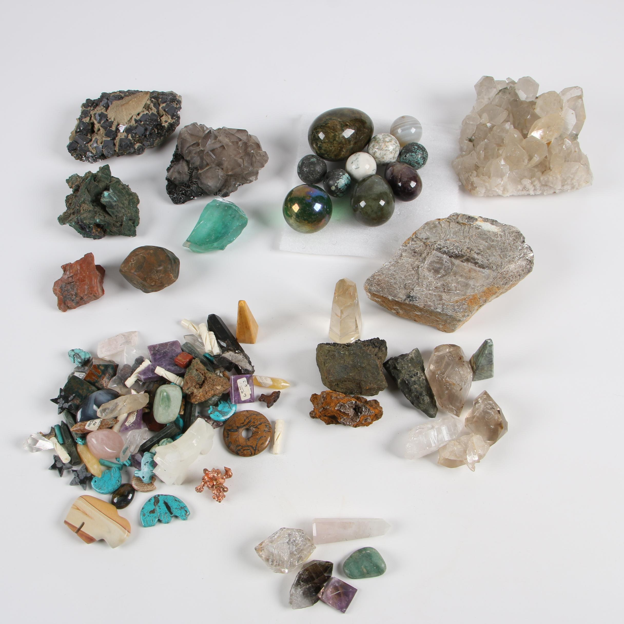 Polished Stone Eggs, Stone Beads, and Other Mineral Specimens
