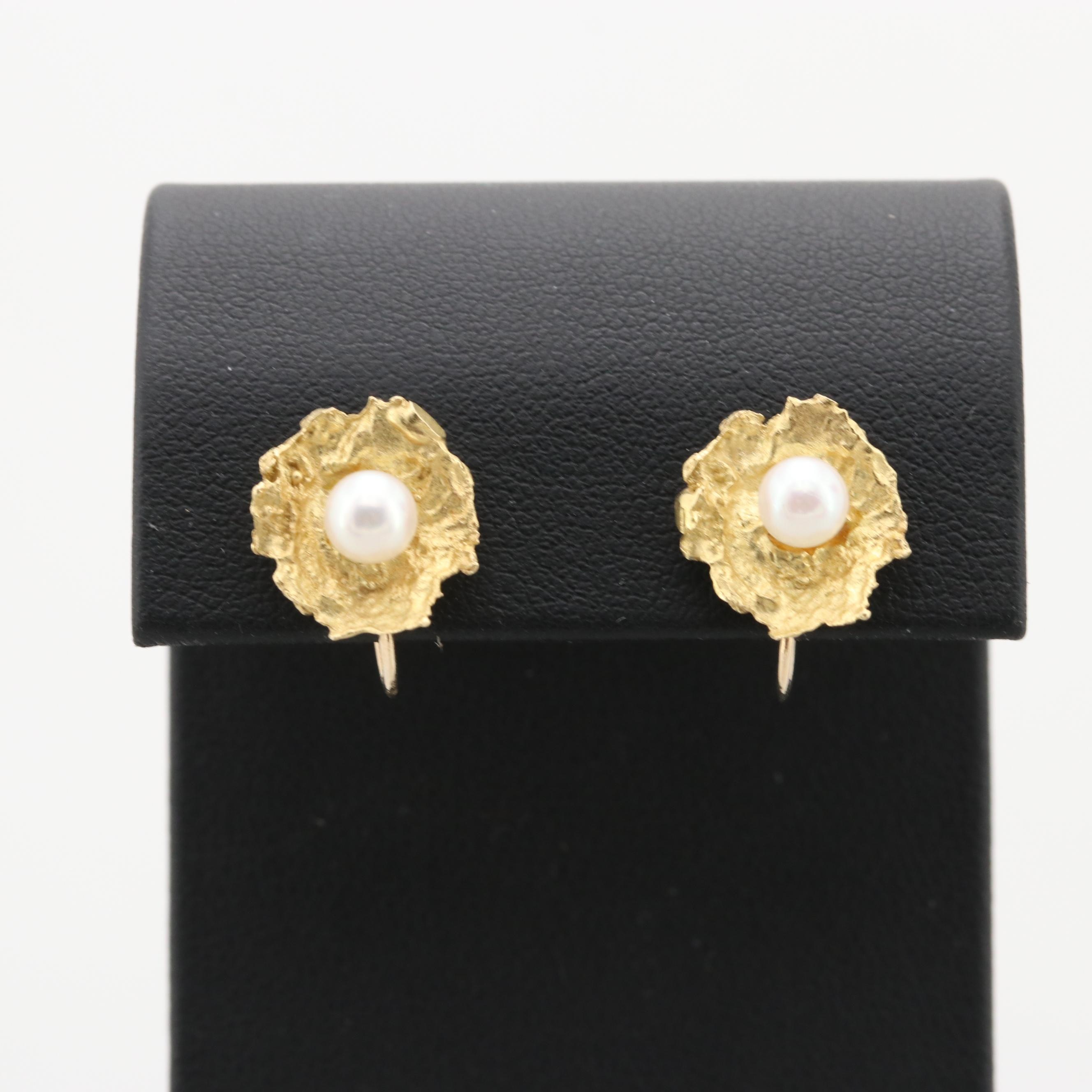 18K and 14K Yellow Gold Cultured Pearl Earrings