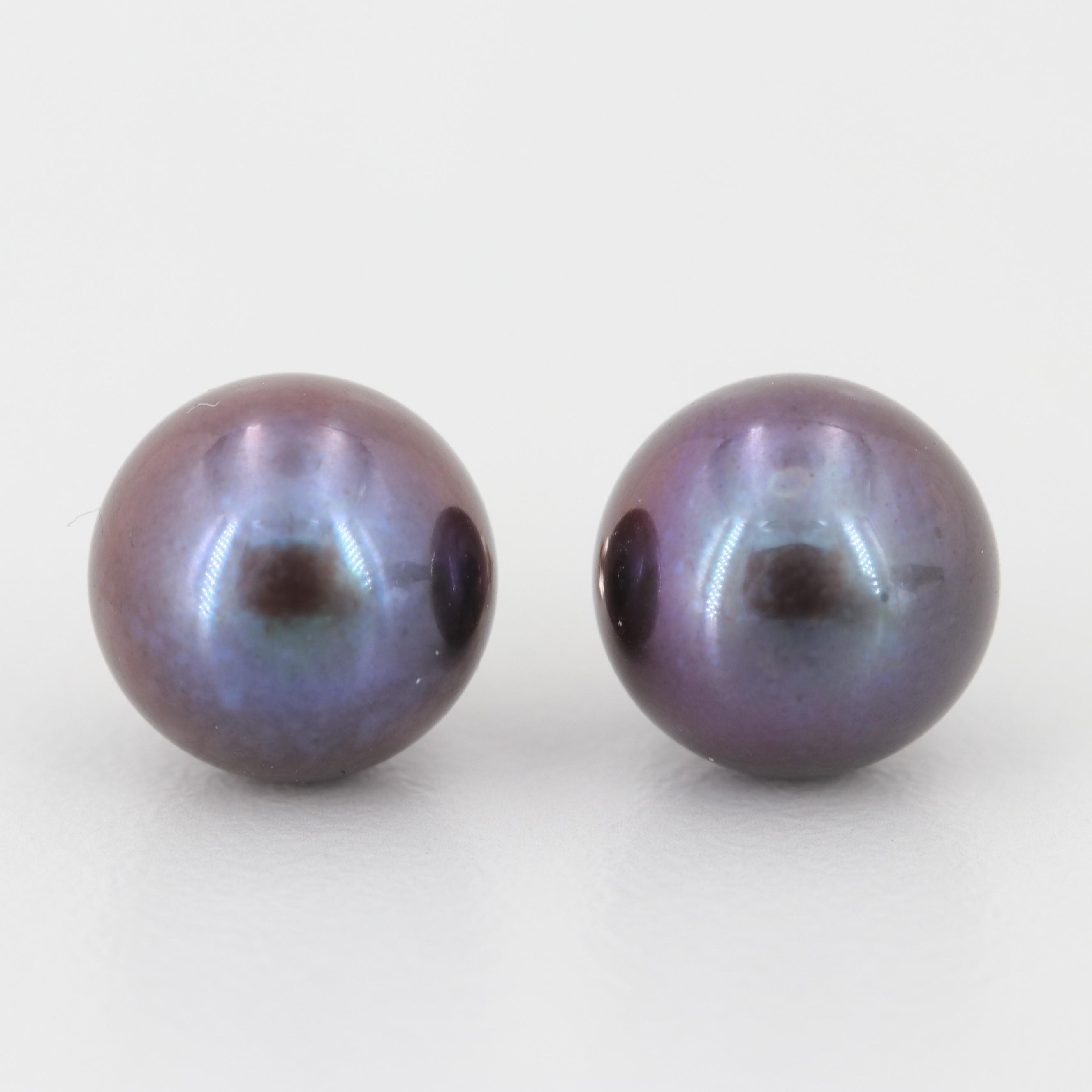 14K White Gold Cultured Pearl Stud Earrings
