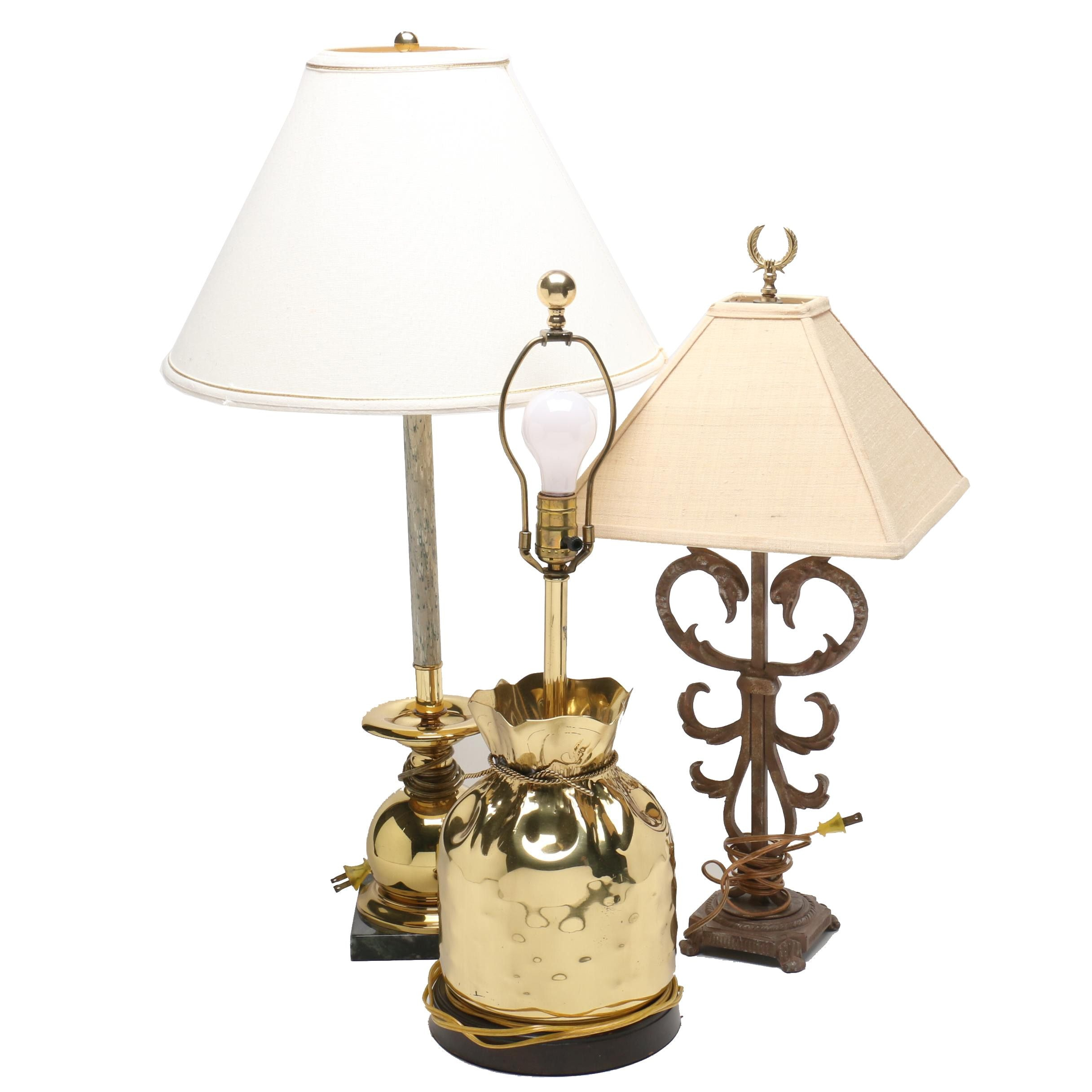 Brass and Wrought Iron Table Lamps