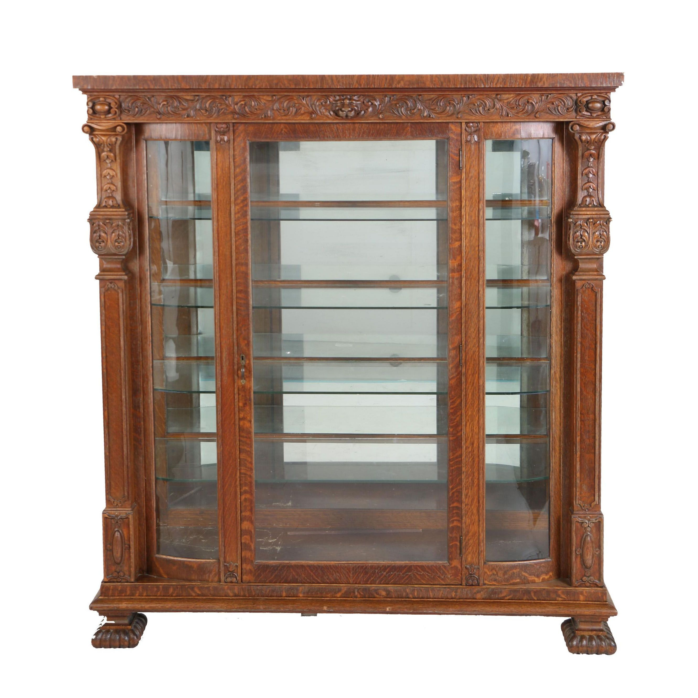 Victorian Renaissance Revival Oak Display Cabinet, Circa 1900