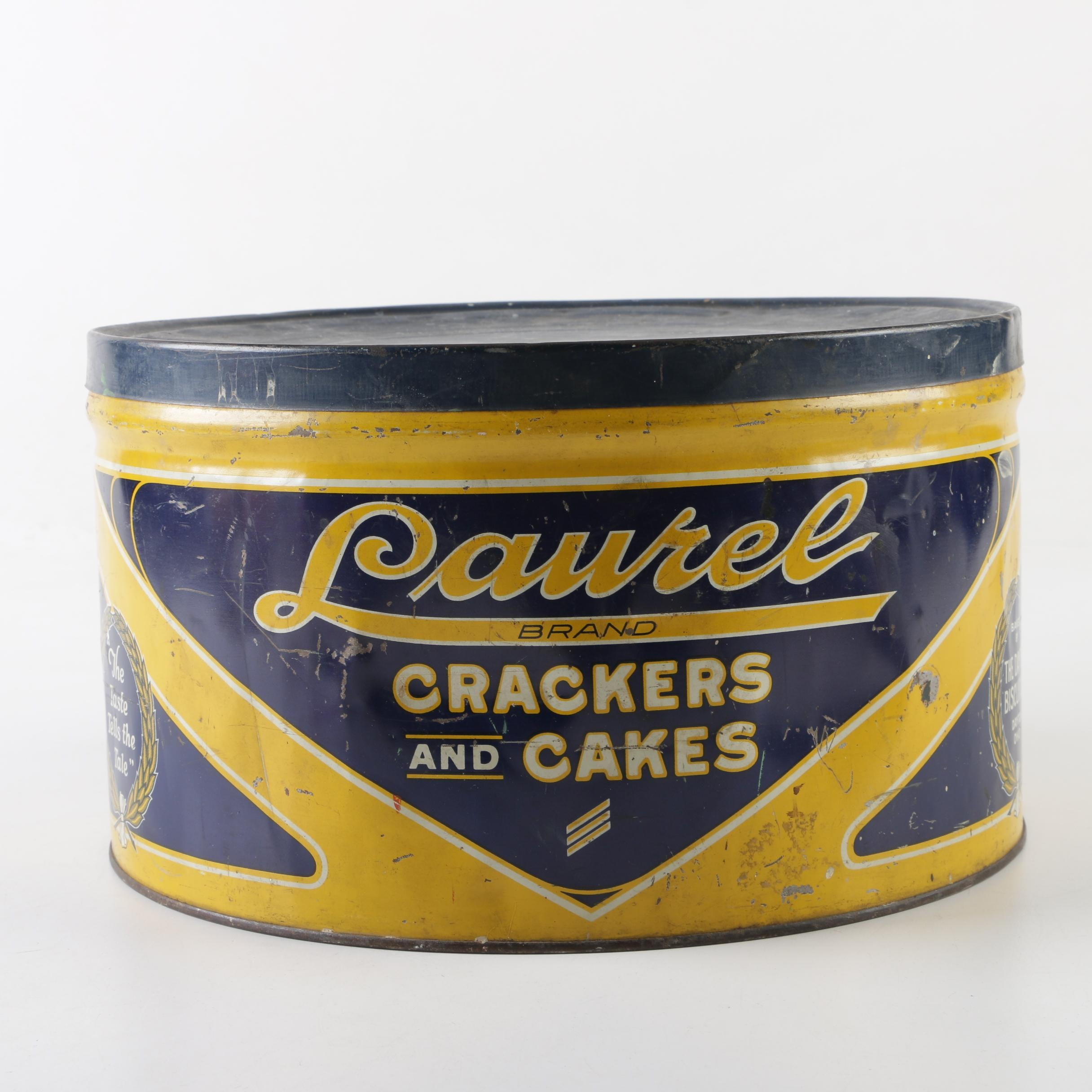 Laurel Crackers and Cakes Tin by The Dayton Biscuit Co., 1940s - 1950s