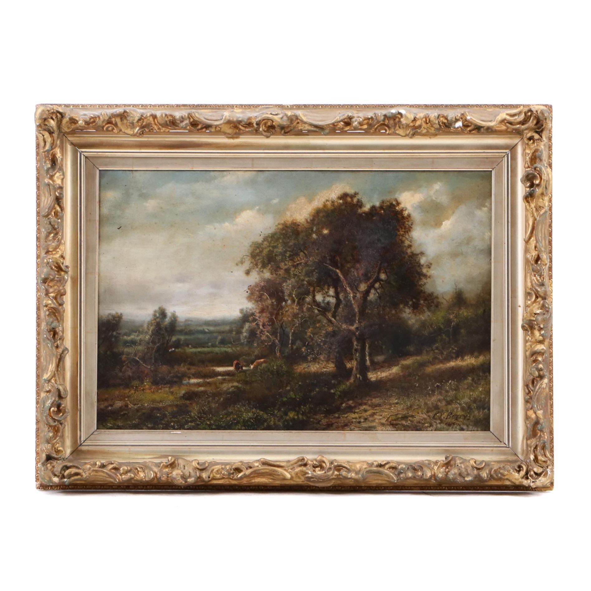 Patrick Vincent Berry 1899 Oil Painting of Cattle in Pastoral Landscape