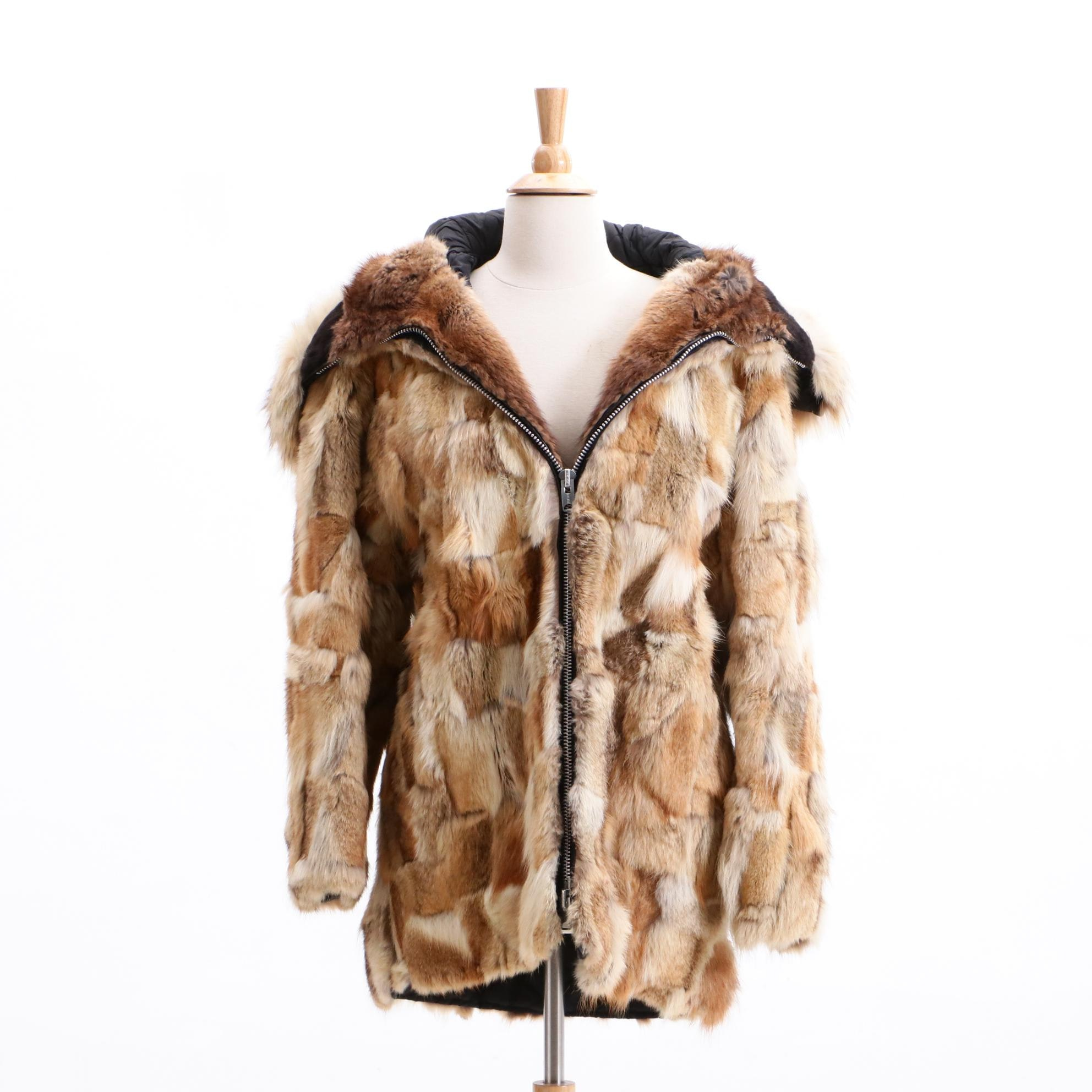 Vintage Anchorage Fur Factory Patchwork Coyote Fur Coat with Multiple Furs