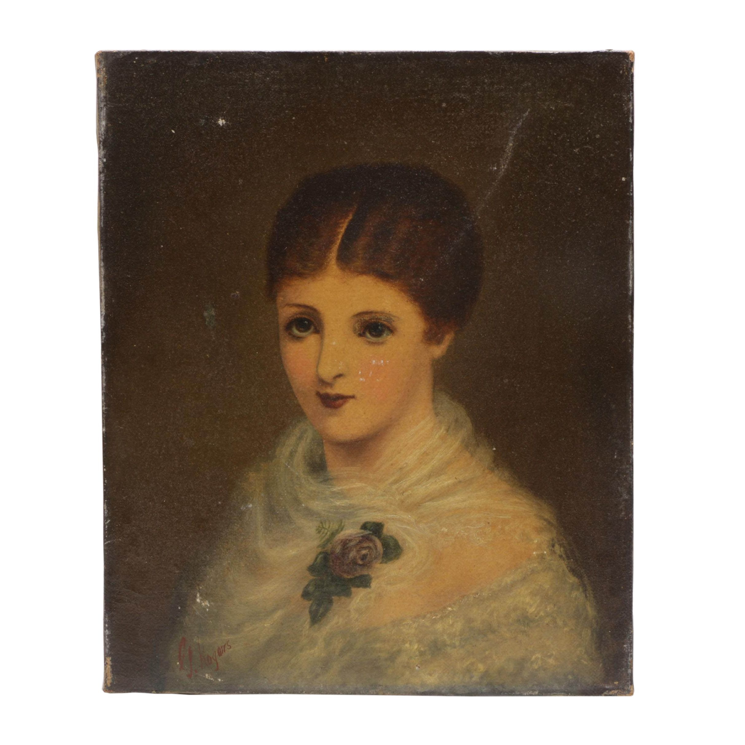 19th-Century Oil Portrait Painting