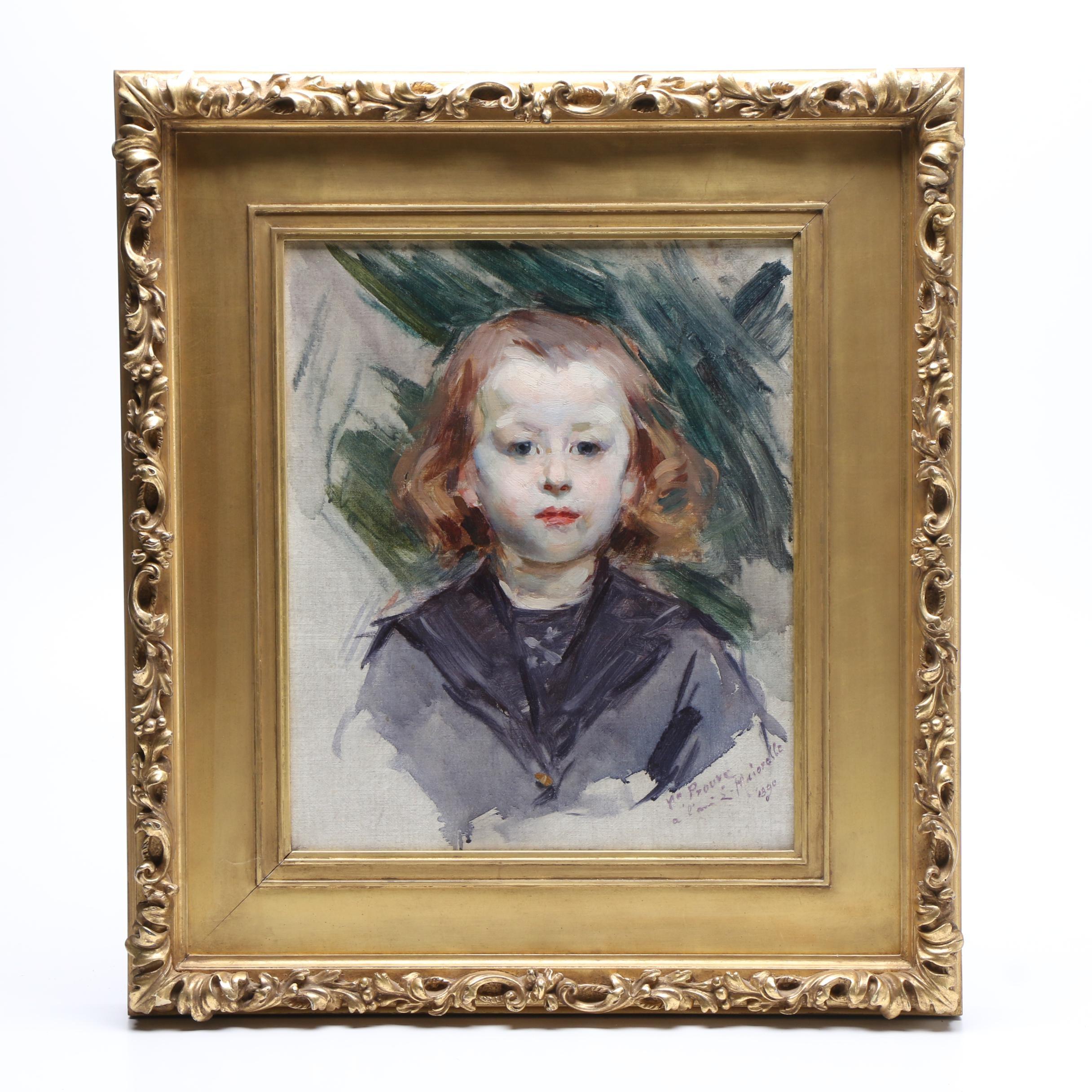 """Victor Emile Prouve 1890 Oil Painting """"Jacques Majorelle"""""""