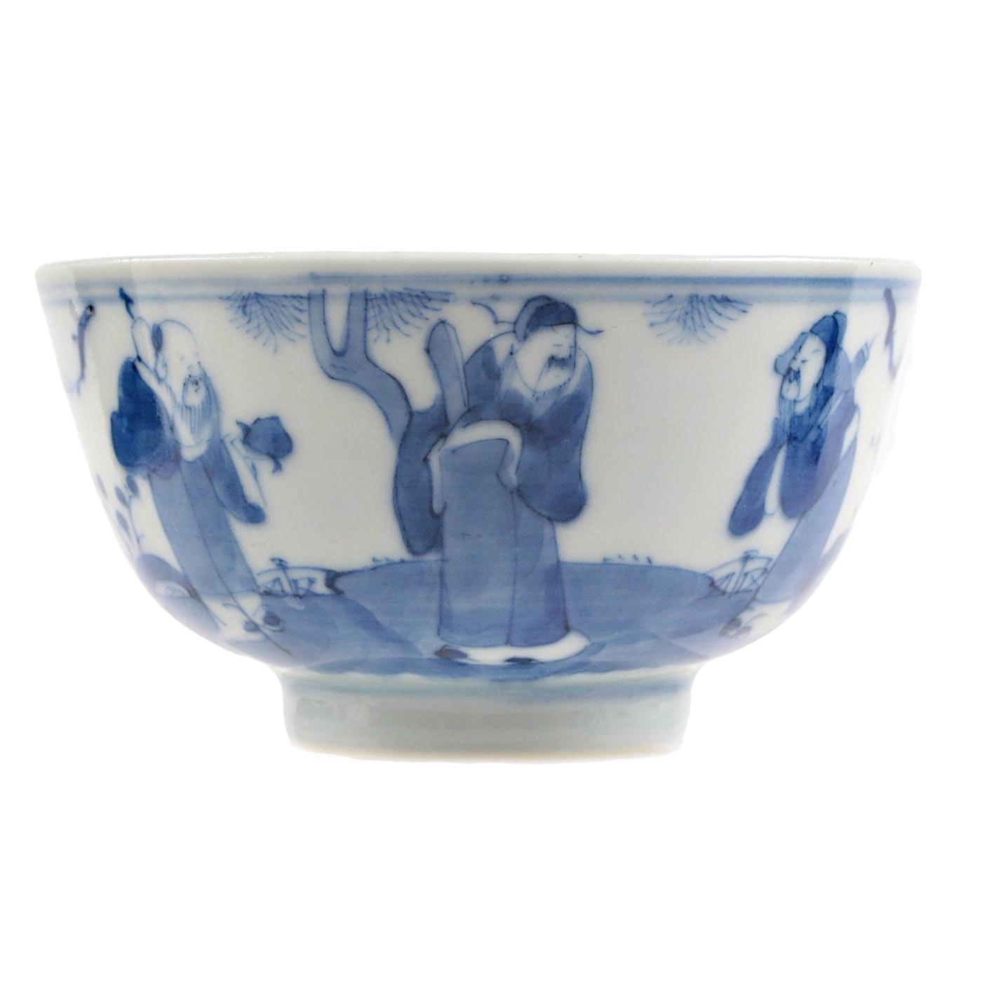 Chinese Blue and White Porcelain Three Scholars Bowl, Kangxi