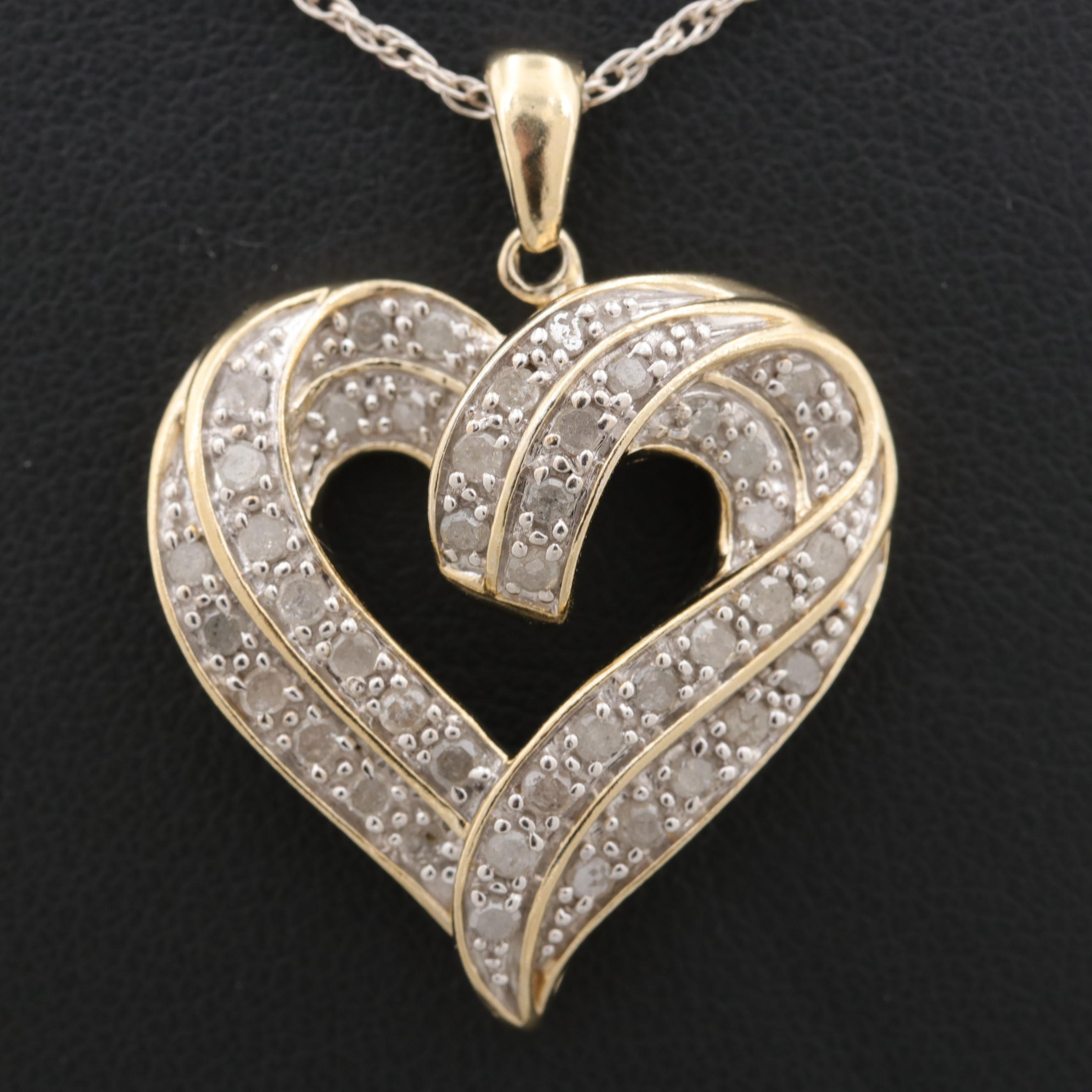 Gold Wash on Sterling Silver Diamond Heart Pendant and Chain