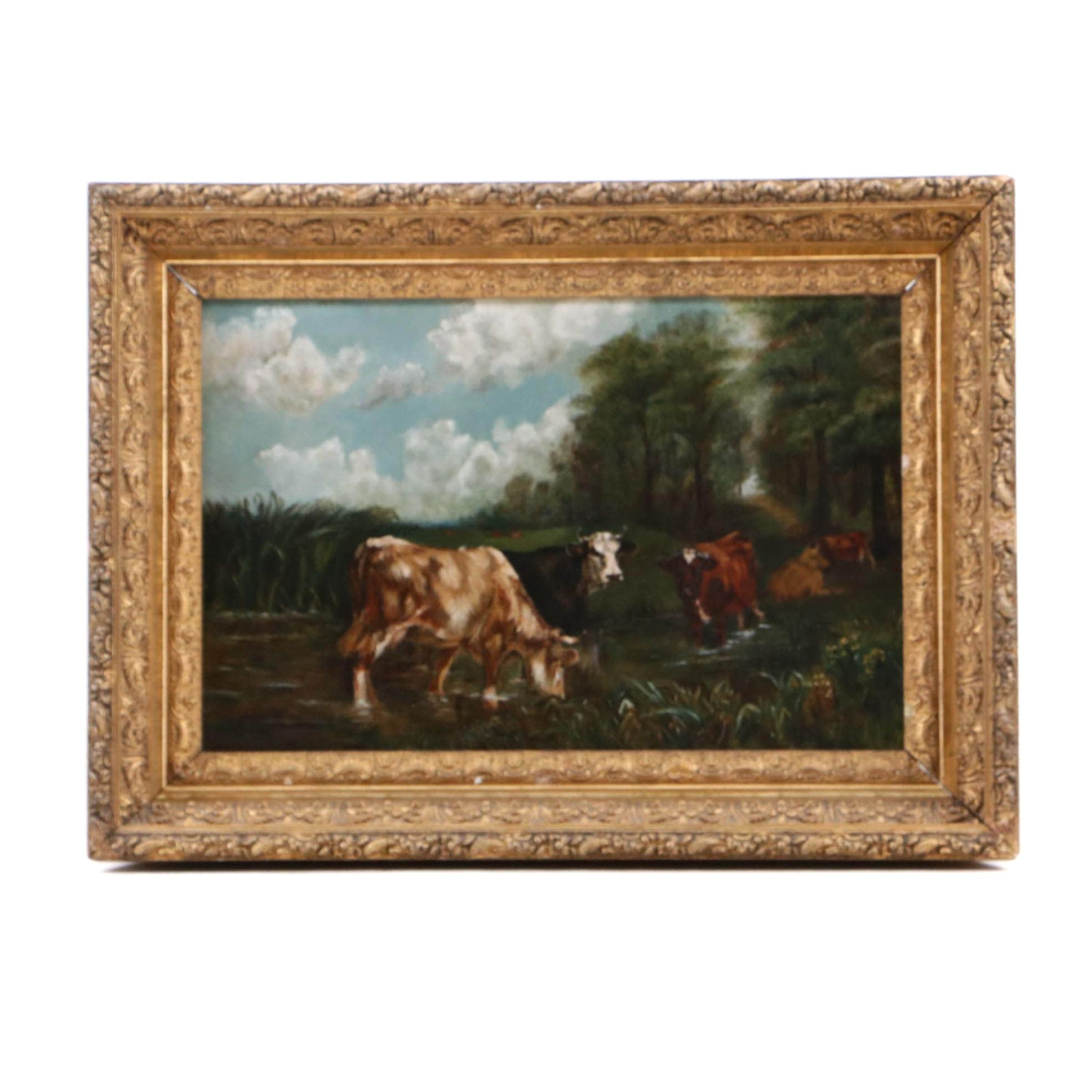 Oil Painting of Cattle in Bucolic Landscape