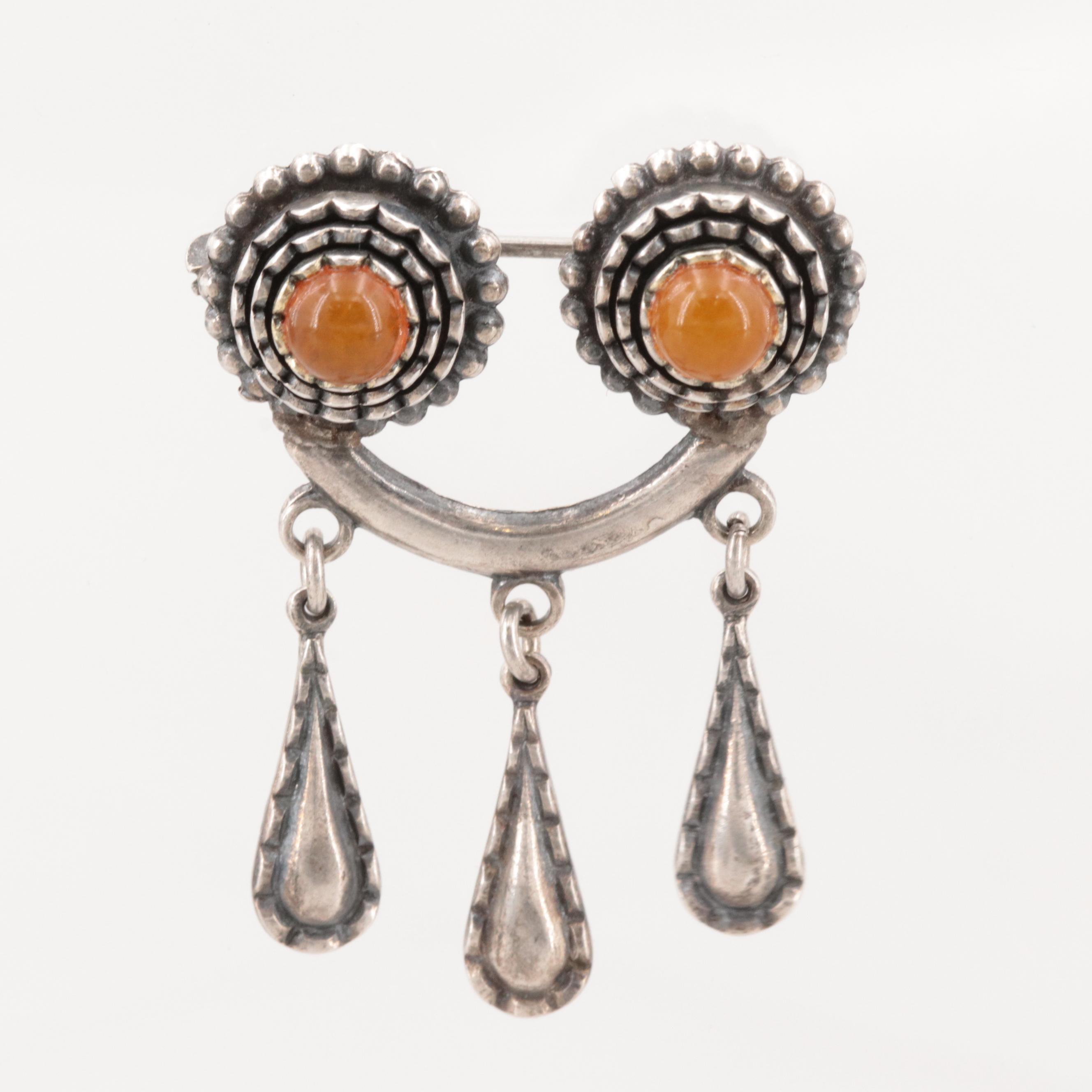 Vintage Russian 875 Silver Amber Brooch