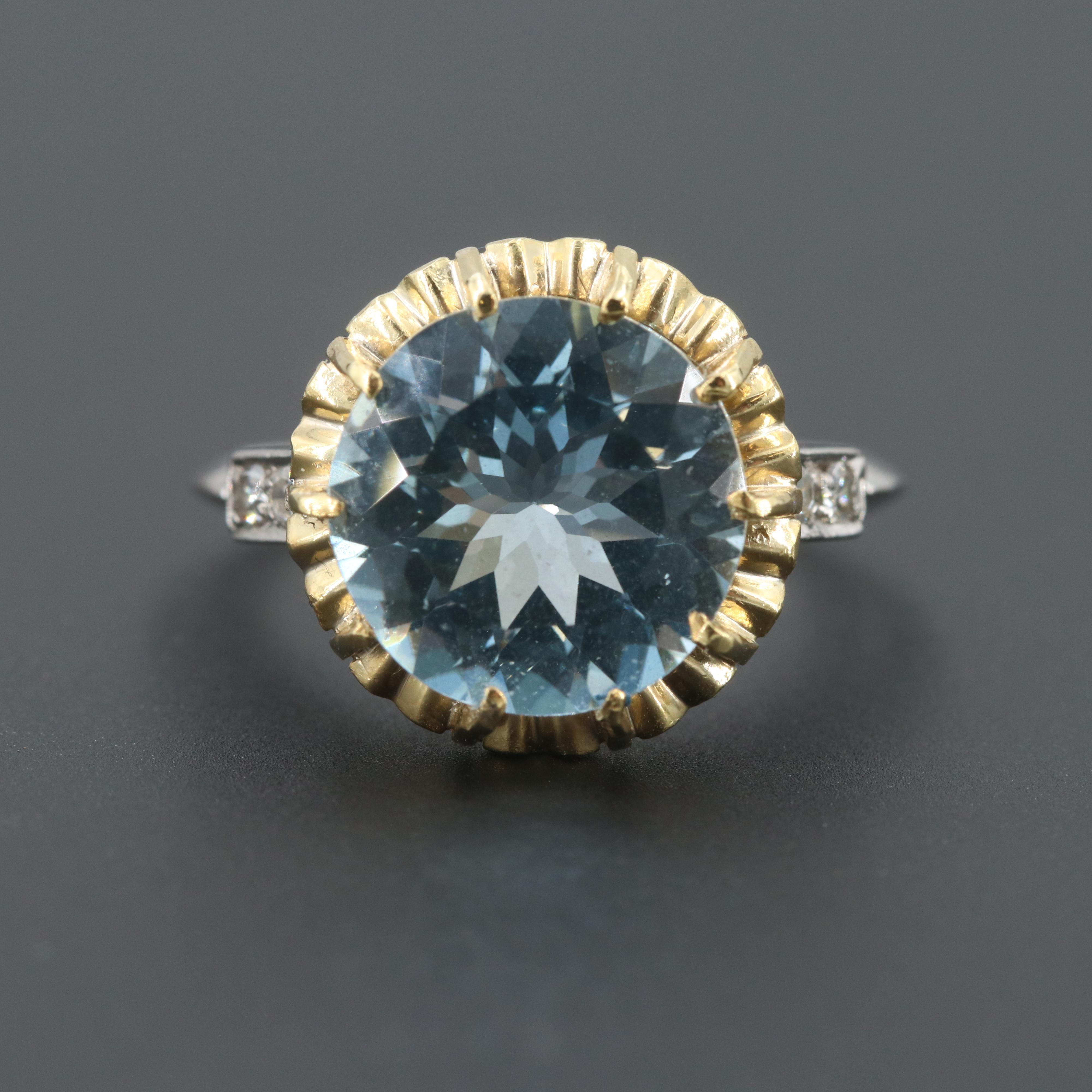 Platinum 3.46 CT Aquamarine and Diamond Ring