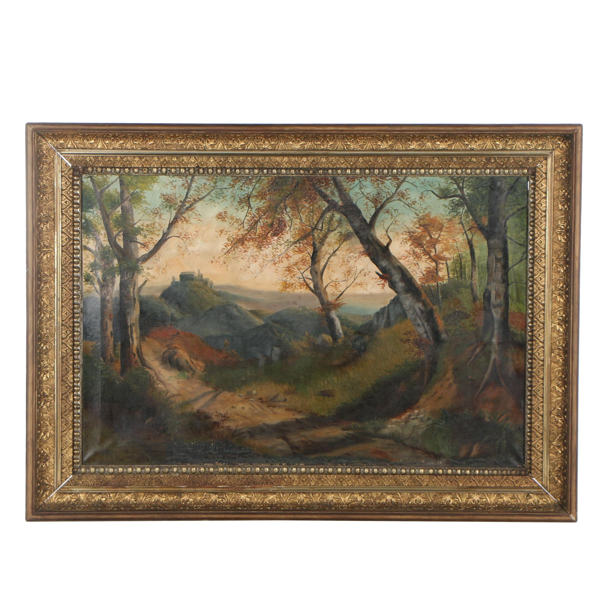 A. Stillwell 1890 Oil Painting