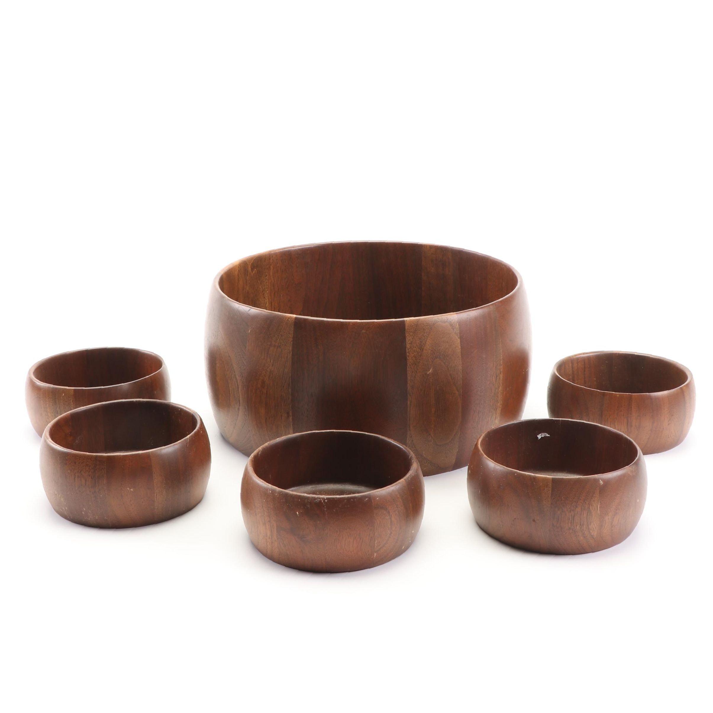 Walnut Salad Bowl Set