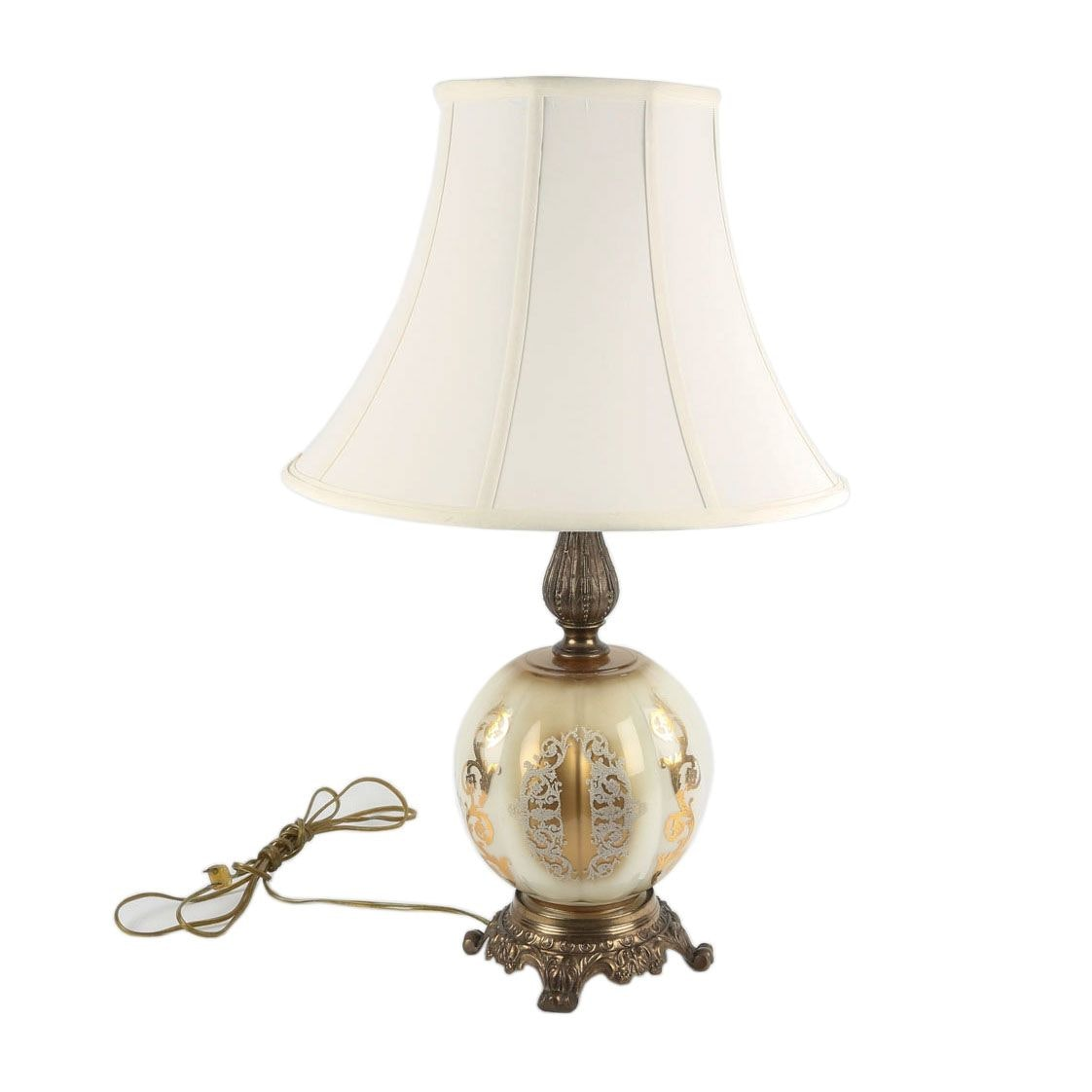Vintage Gilt Accented Glass Orb Table Lamp with Footed Brass Base and Lampshade