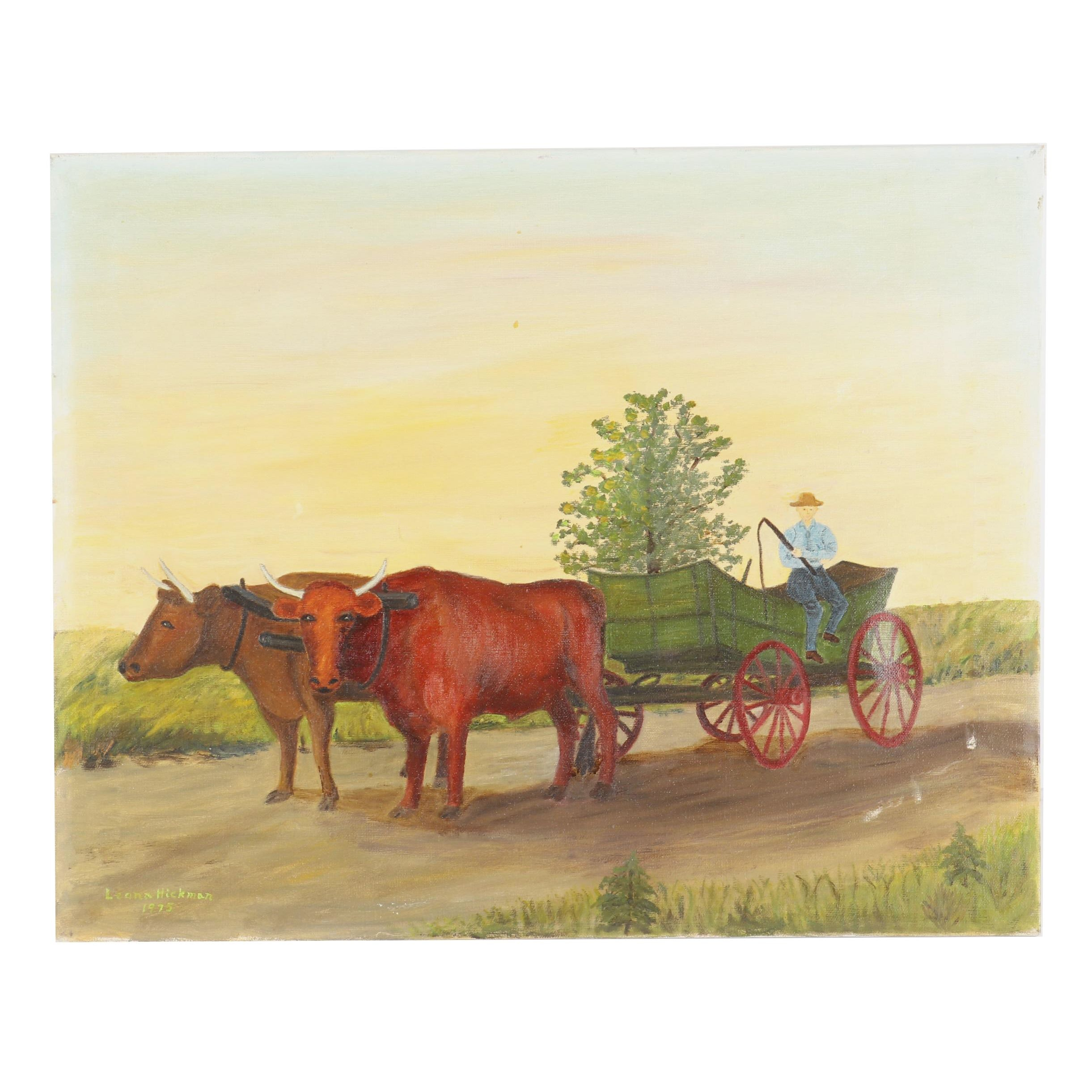 Leona Hickman Oil Painting of Ox Wagon