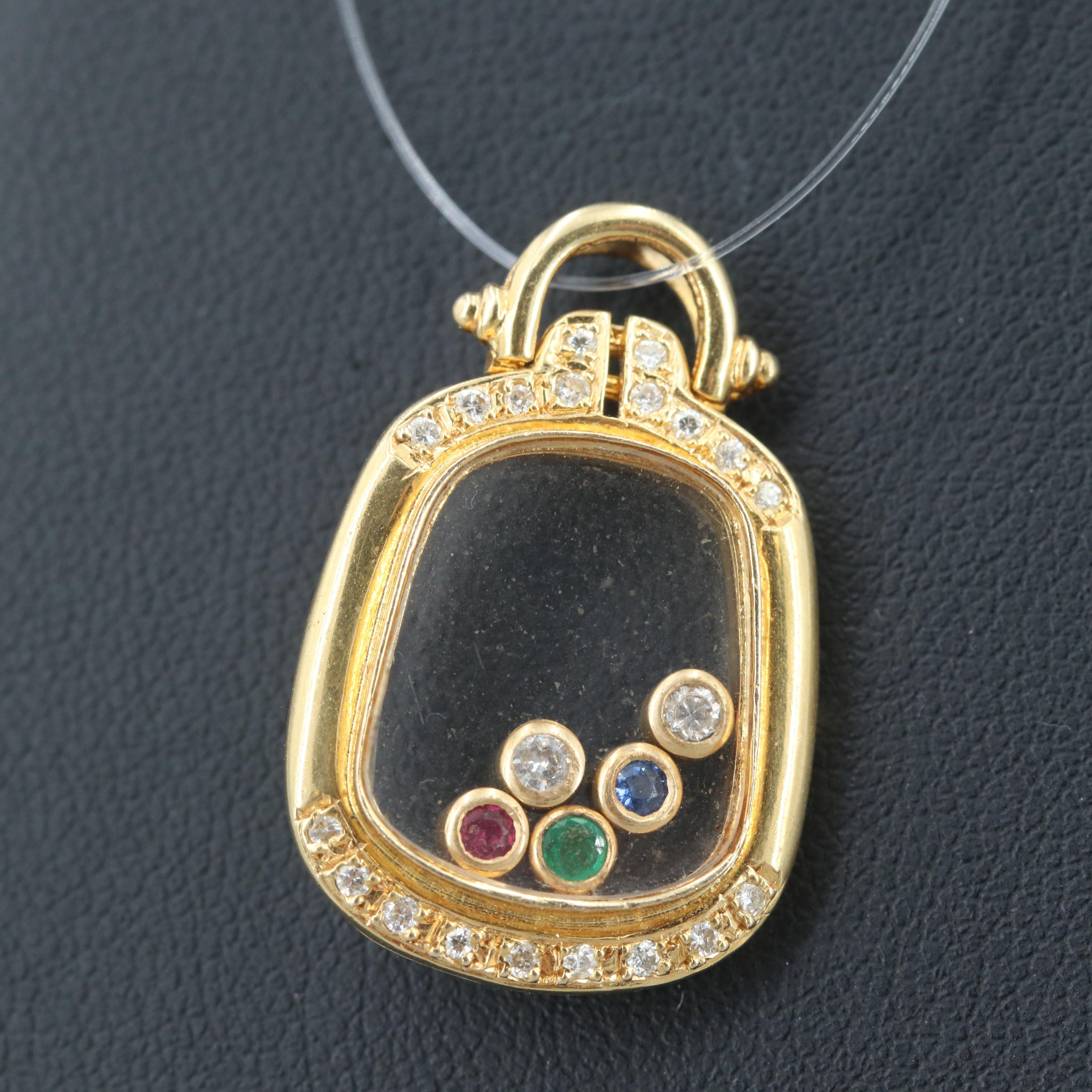 18K Yellow Gold Diamond, Sapphire, Ruby and Emerald Pendant