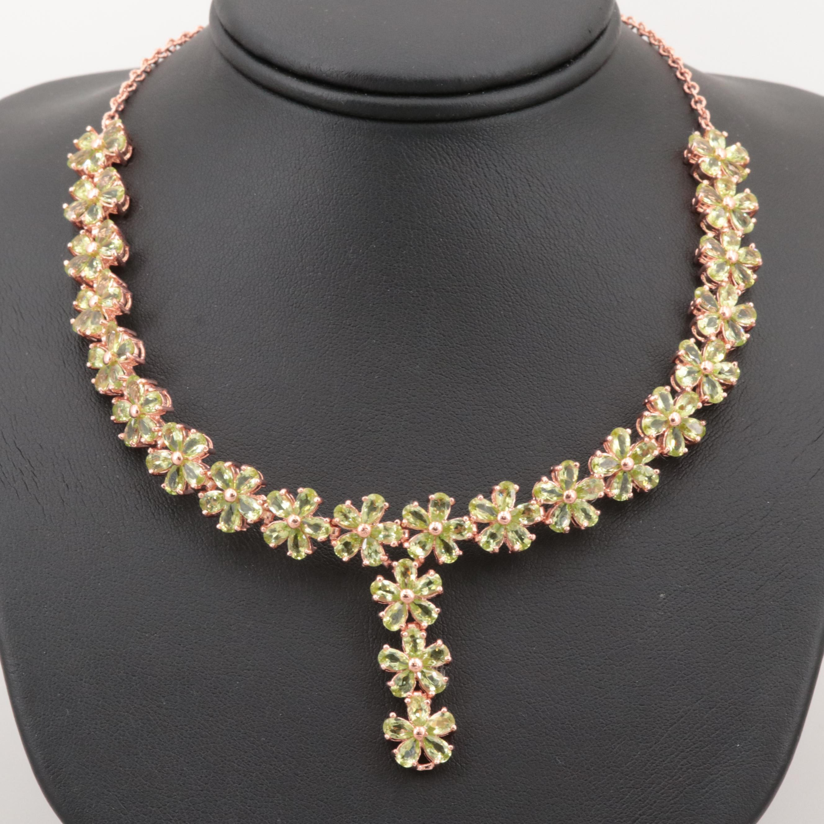 Rose Gold Wash on Sterling Silver Peridot Floral Cluster Necklace