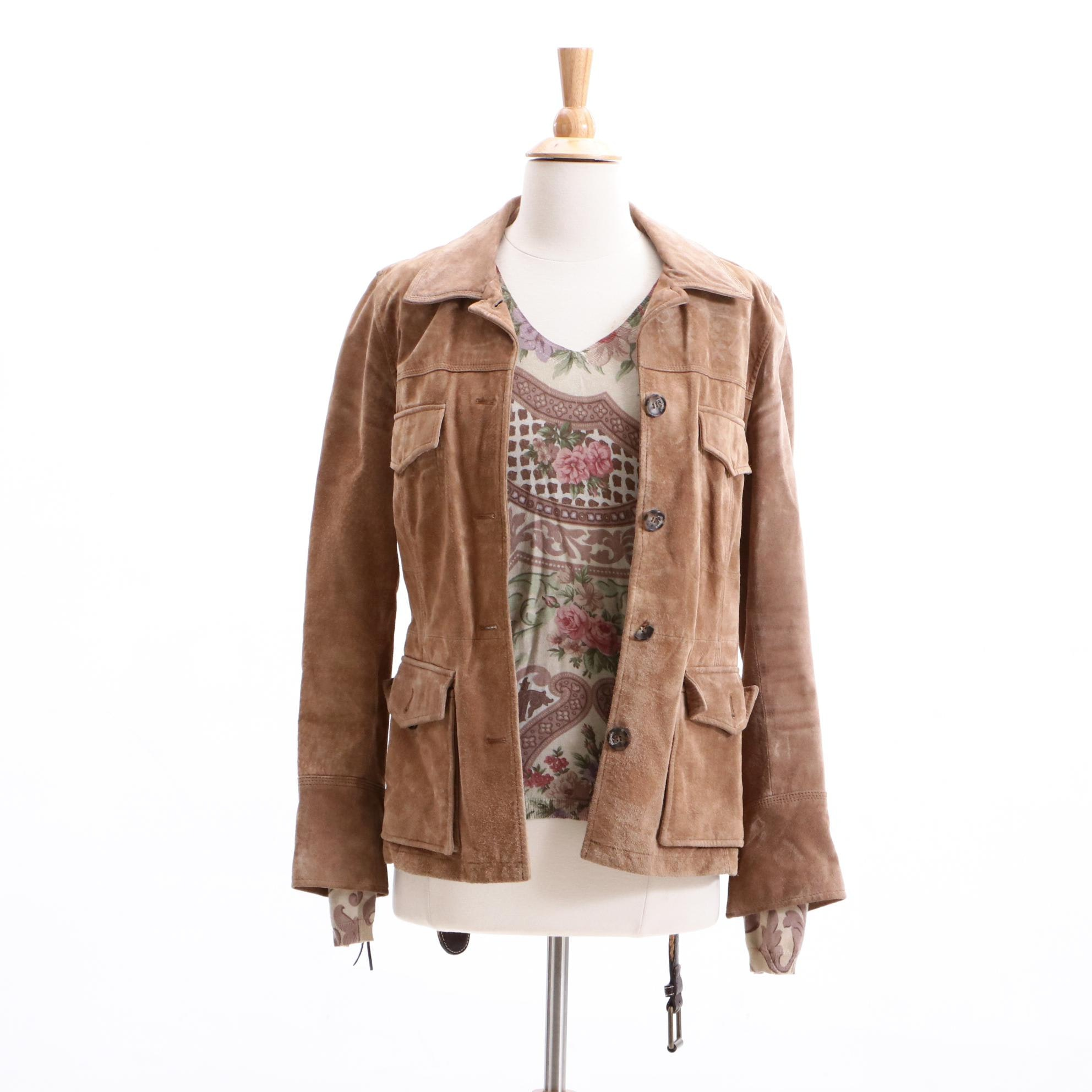 Max Mara Weekend Suede Jacket and Etro Silk and Cashmere Sweater