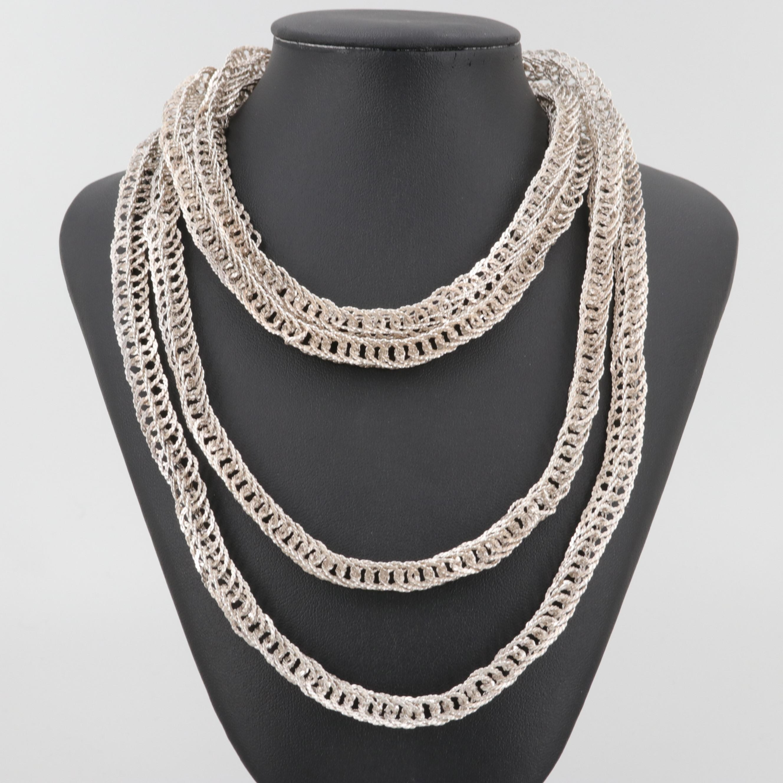 Silver Tone Endless Chain Necklace