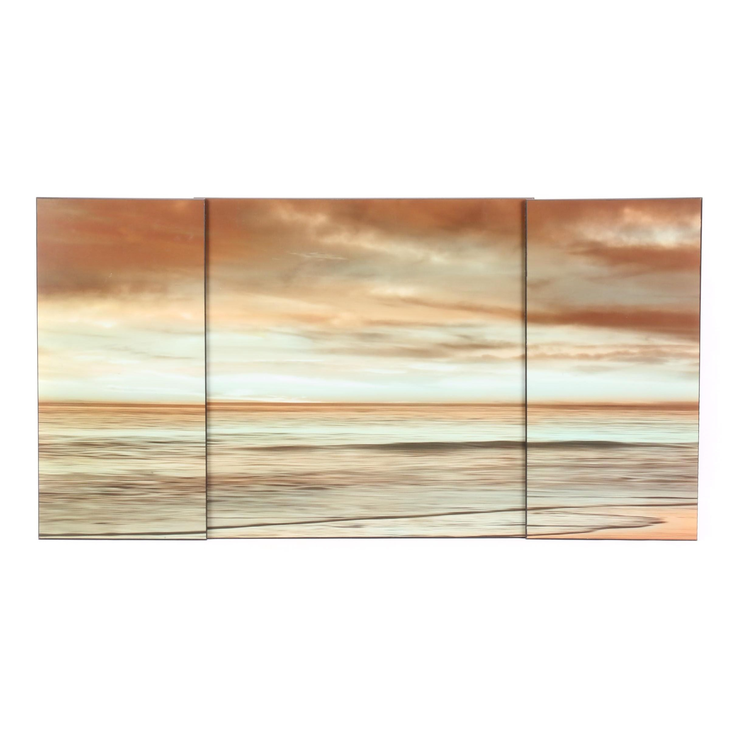 Abstract Ocean Scene Offset Lithographs Mounted to Panels