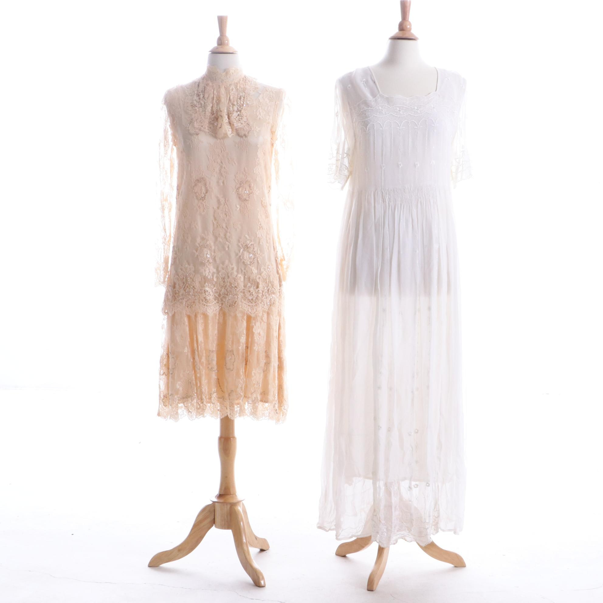 1980s Vintage Rina di Montella Beaded Silk Dress and Divine Sarah Rayon Dress