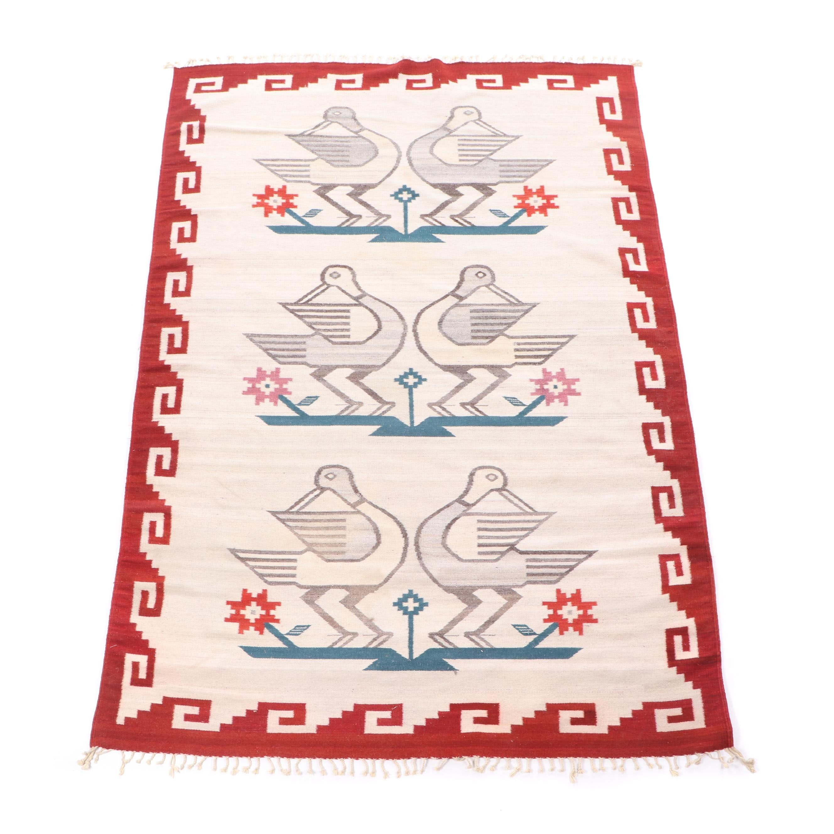 Handwoven Mexican Pictorial Wool Rug