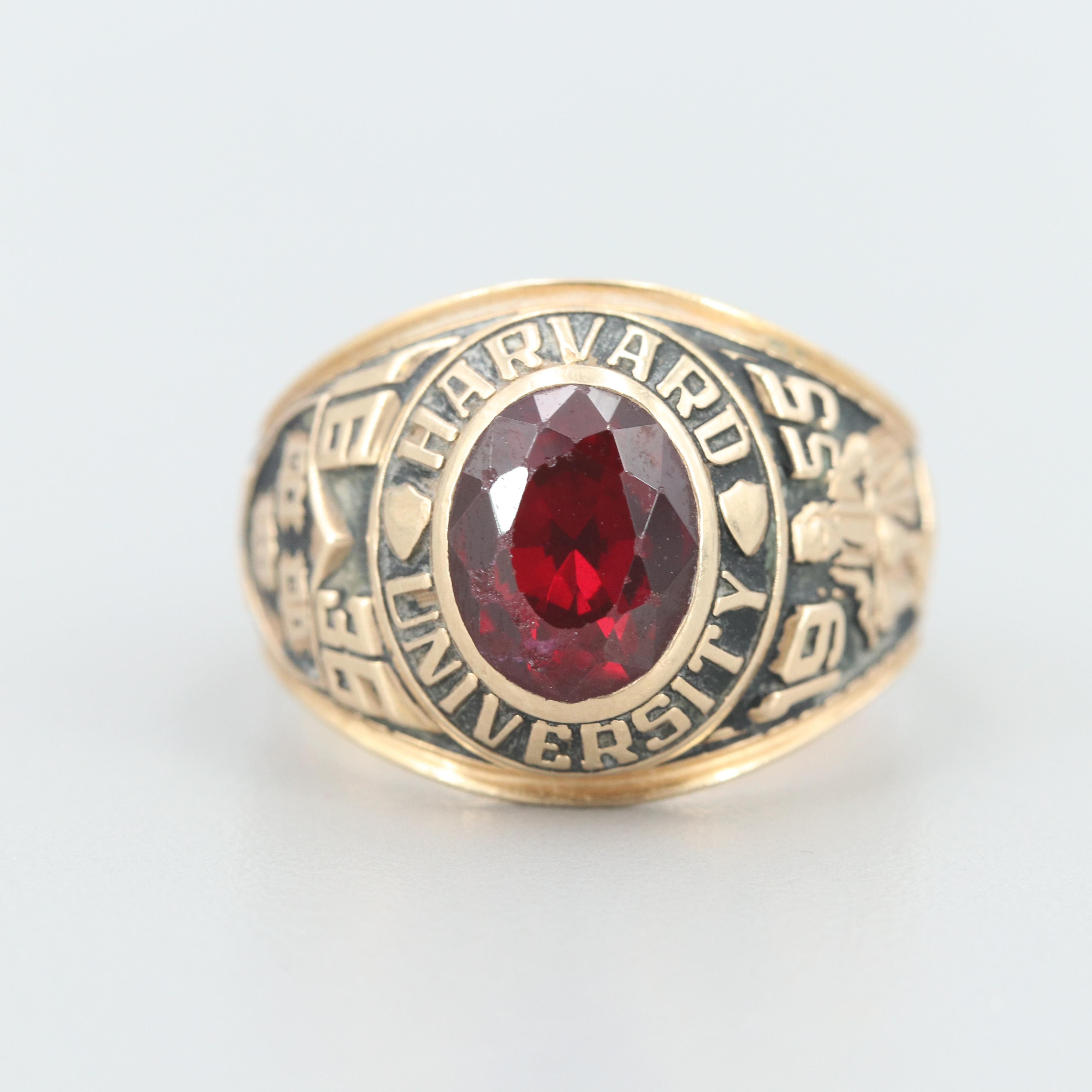 14K Yellow Gold Synthetic Ruby Harvard Class Ring