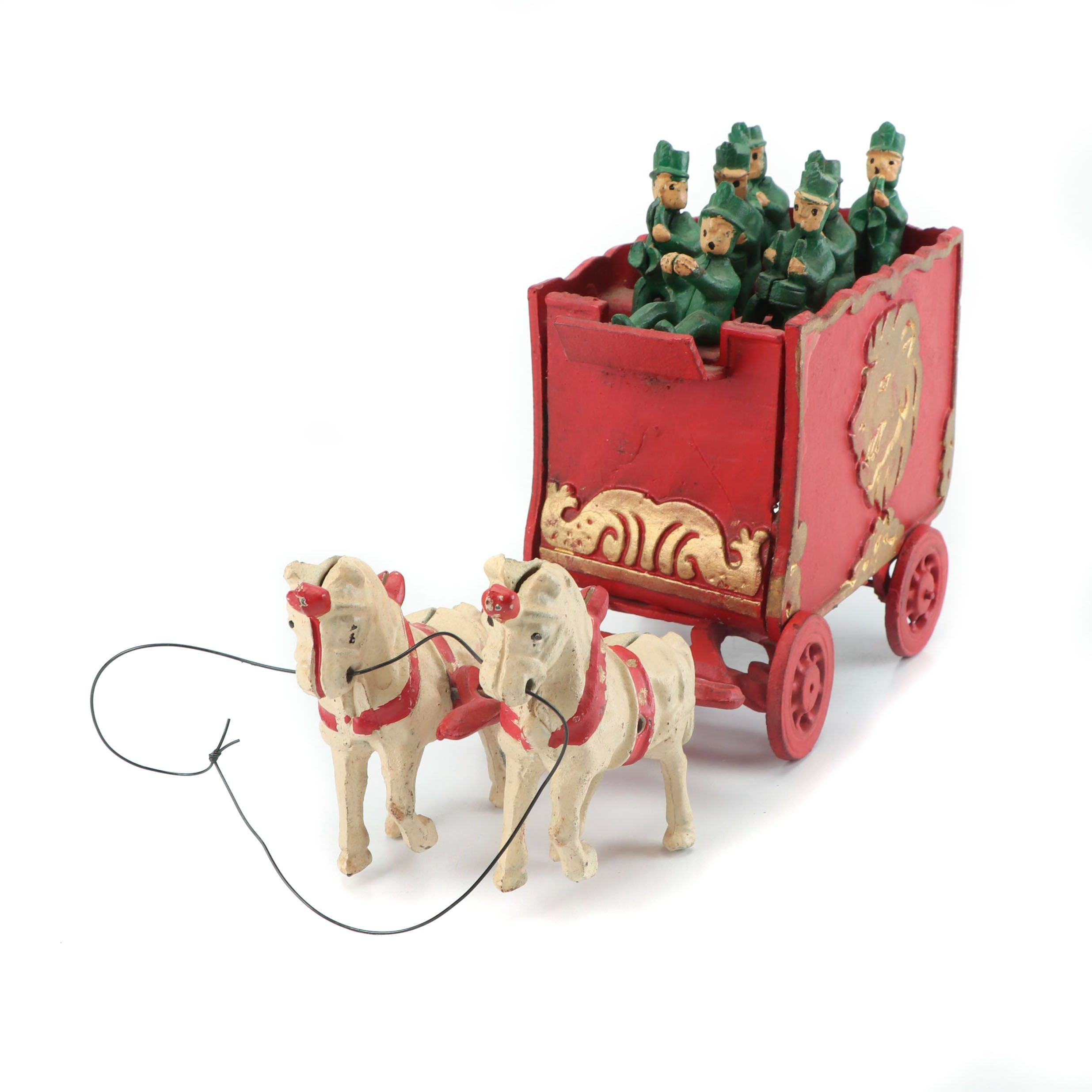 Cast Iron Circus Wagon with Horse and Musician Figurines, Mid-20th Century