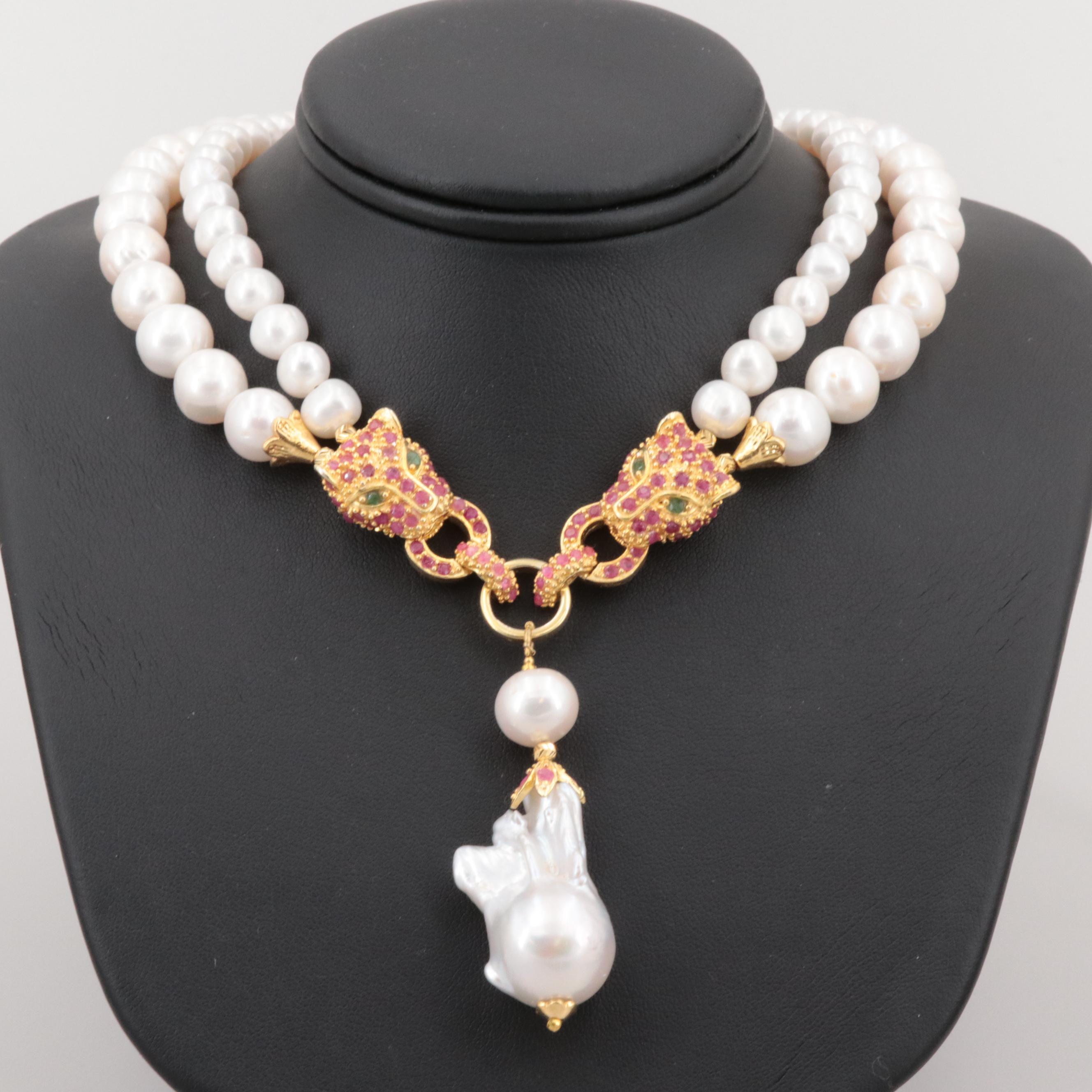 Gold Wash on Sterling Cultured Pearl and Gemstone Double Leopard Head Necklace