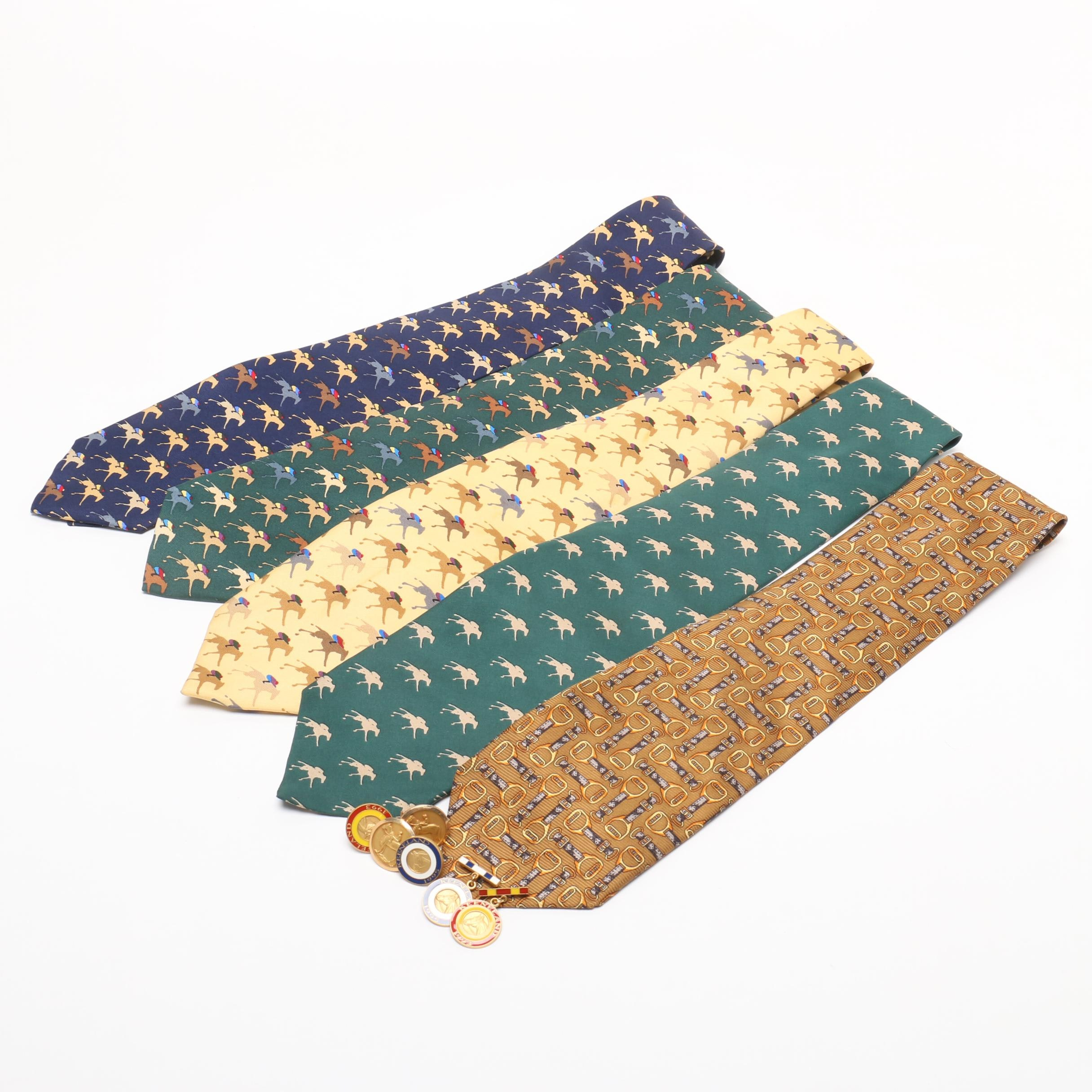 Men's Keeneland Themed Silk Ties and Pins