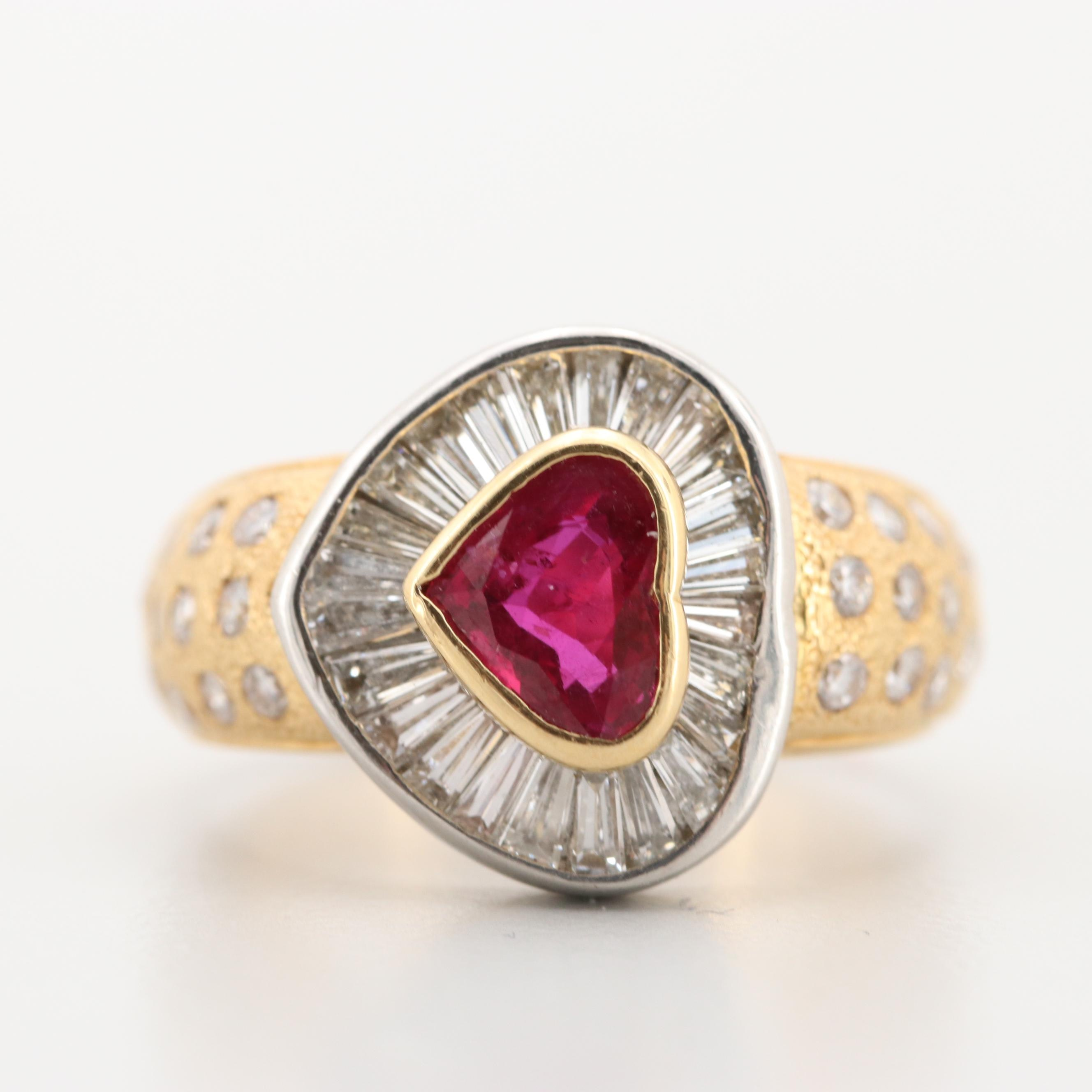 18K Yellow Gold and Platinum 1.03 CT Ruby and 1.52 CTW Diamond Heart Ring