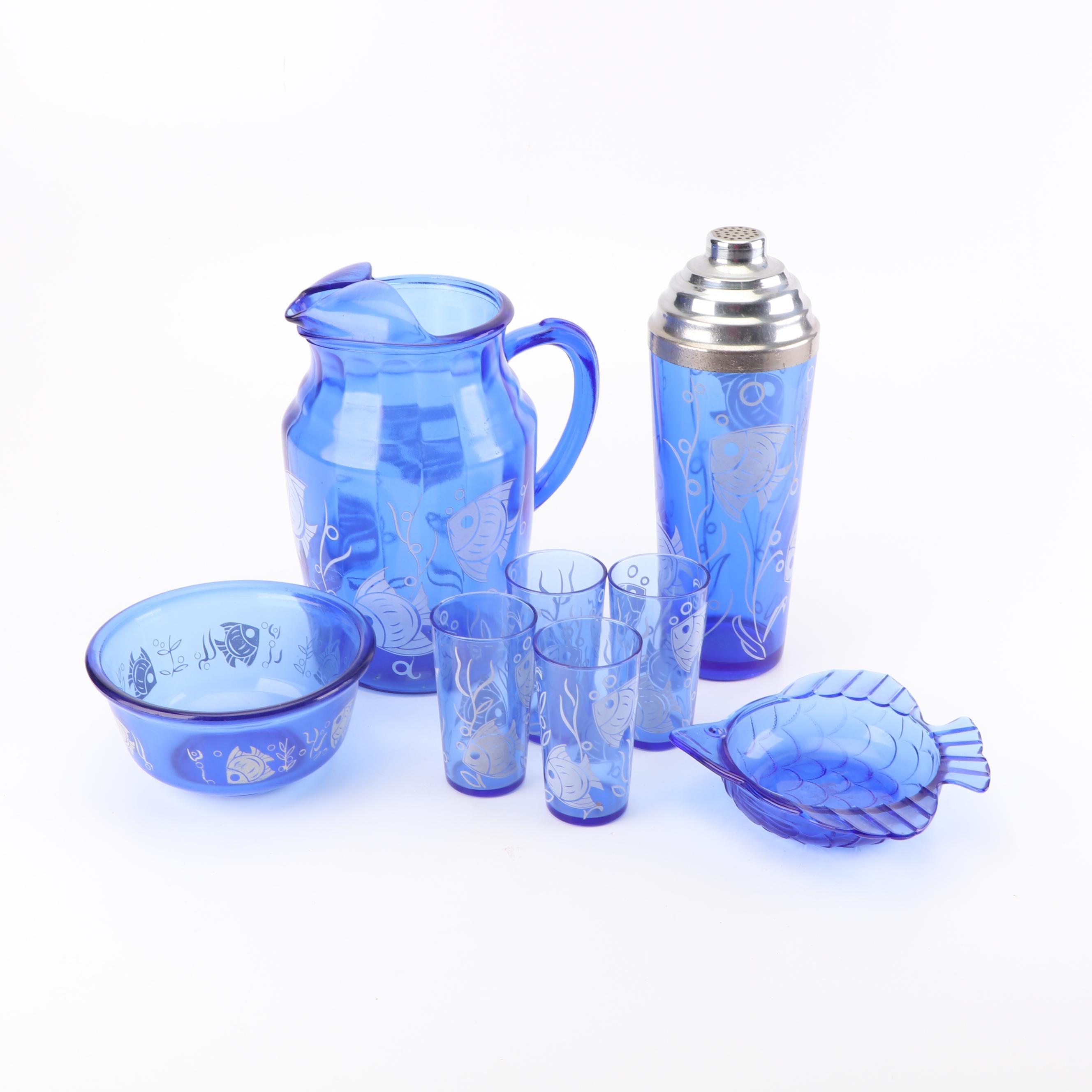 "Vintage Hazel-Atlas ""Angel Fish"" Cobalt Glass Serveware and Tumblers"