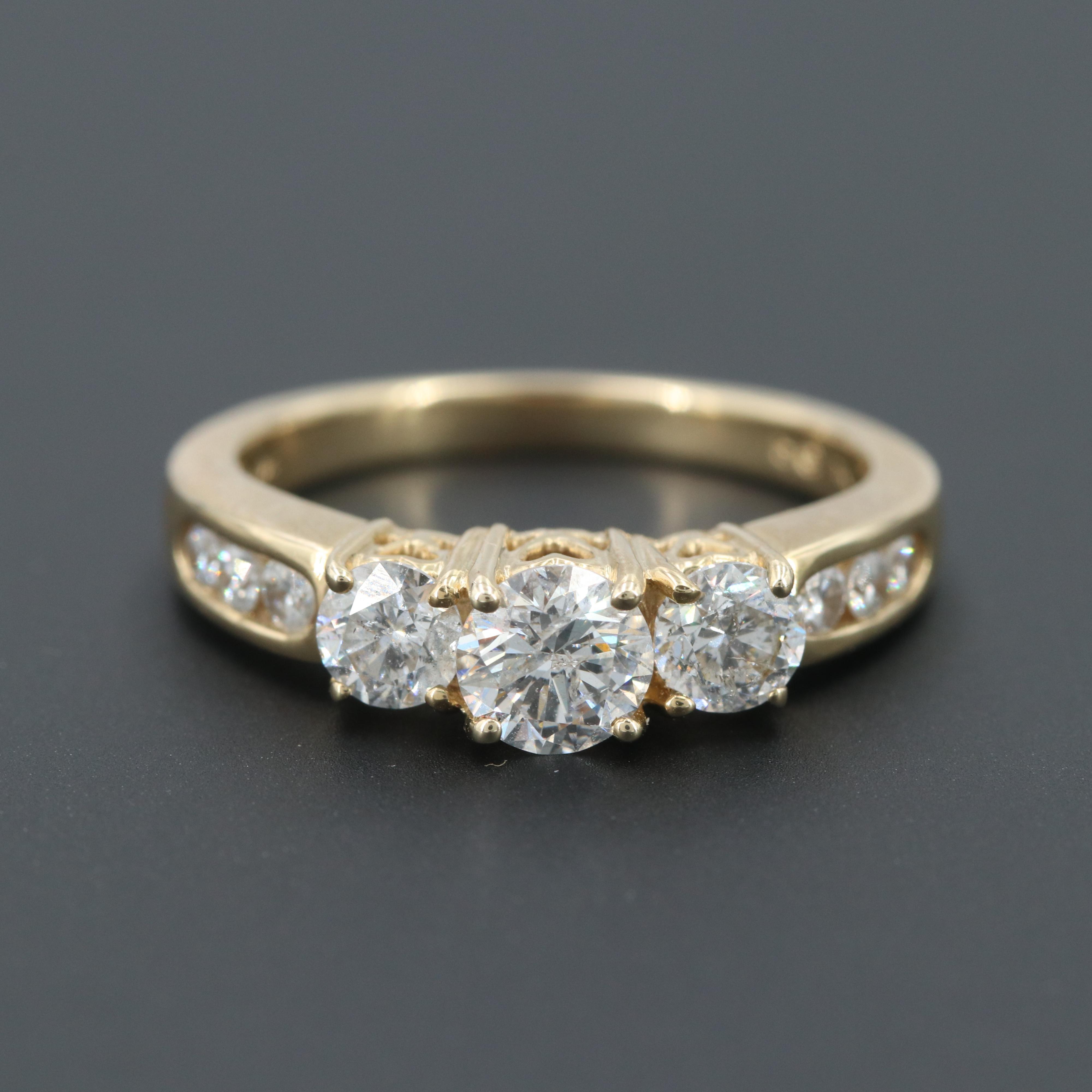 14K Yellow Gold 1.31 CTW Diamond Ring