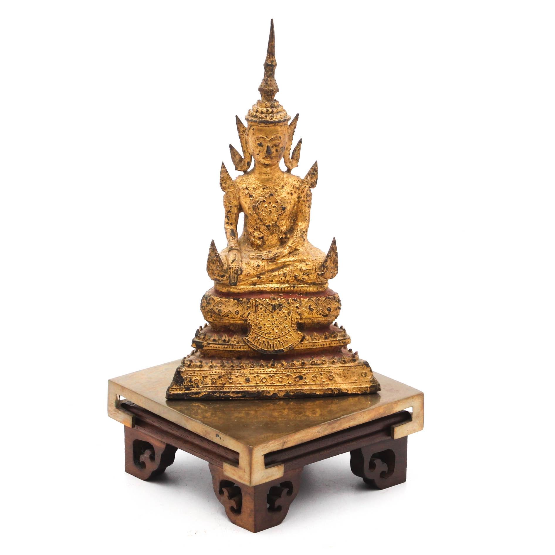 Thai Sitting Buddha Gilt Metal Sculpture