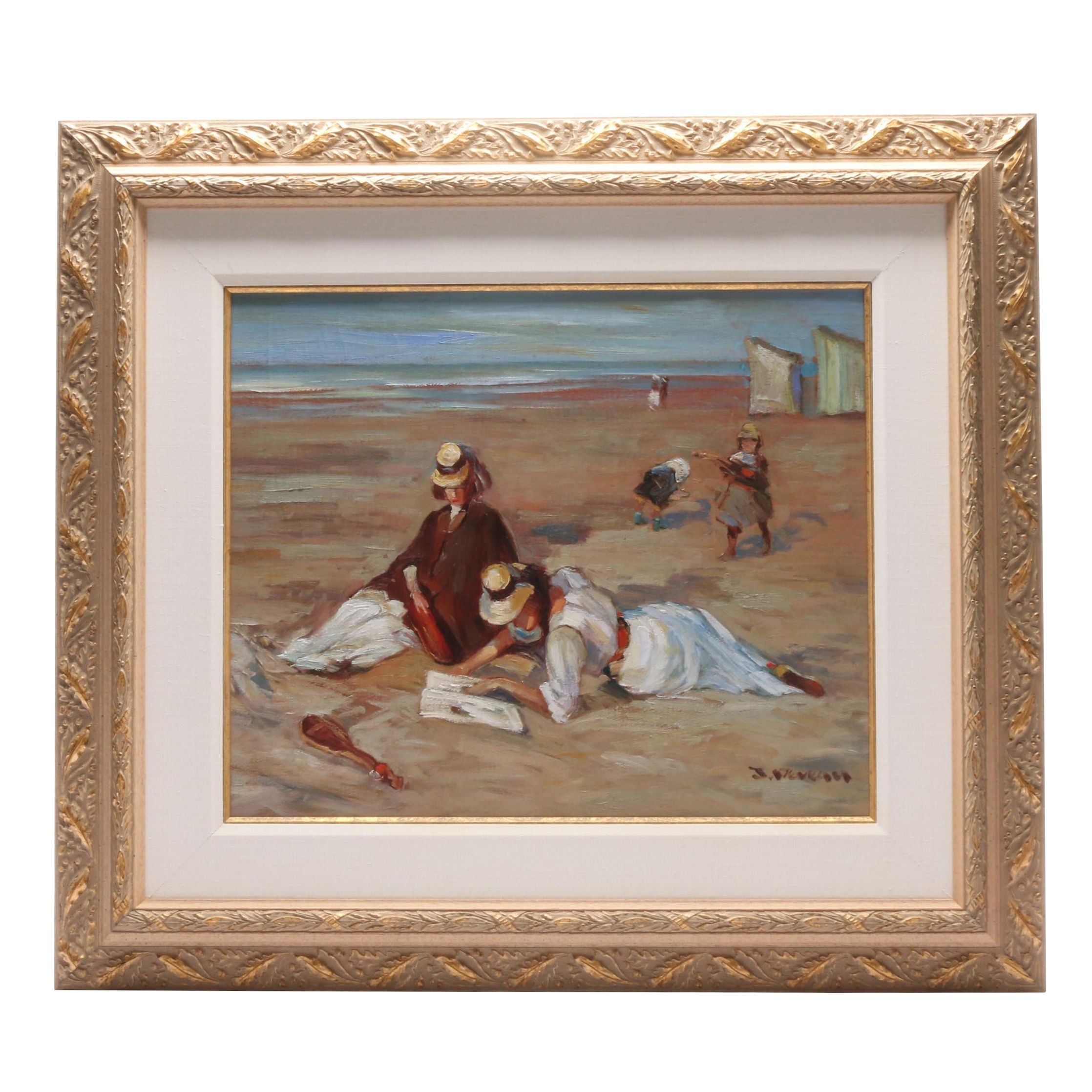 Jacques Deveau Oil Painting of Beach Scene with Figures