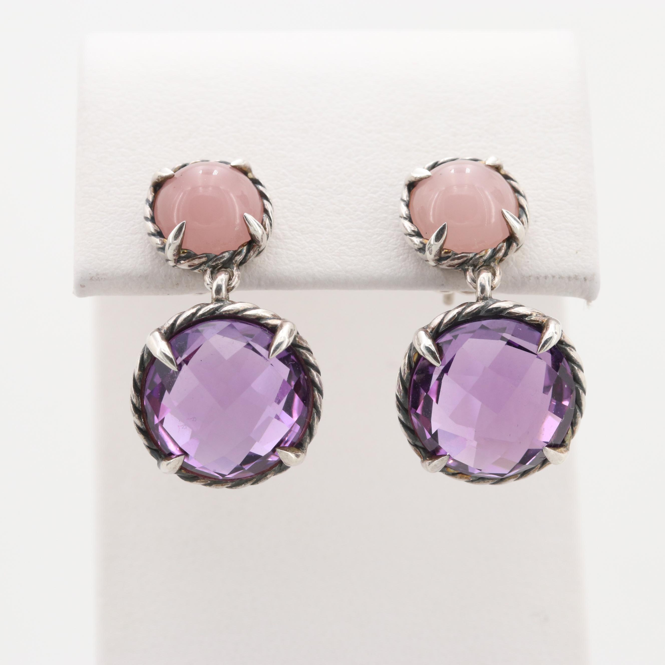 David Yurman Sterling Silver Amethyst and Rose Quartz Dangle Earrings