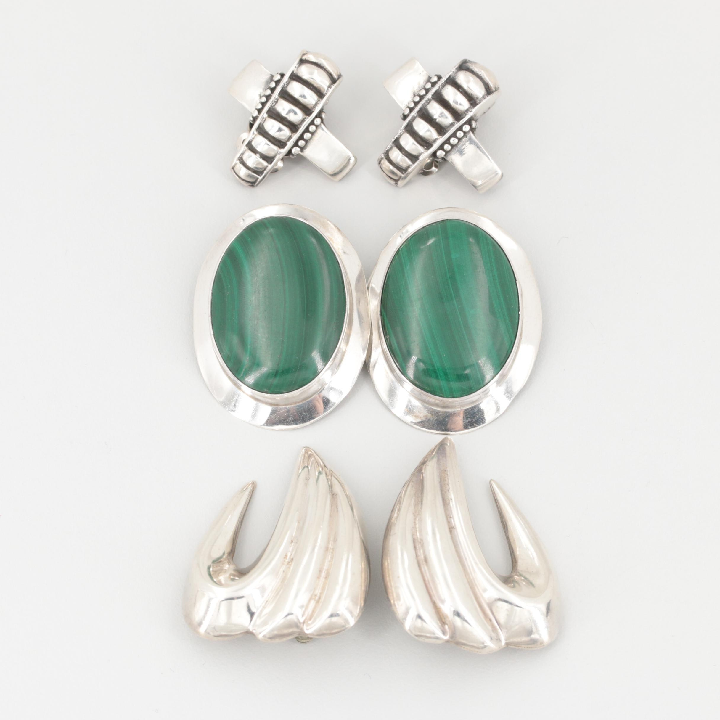 Assorted Sterling Silver Malachite Clip-On Earrings