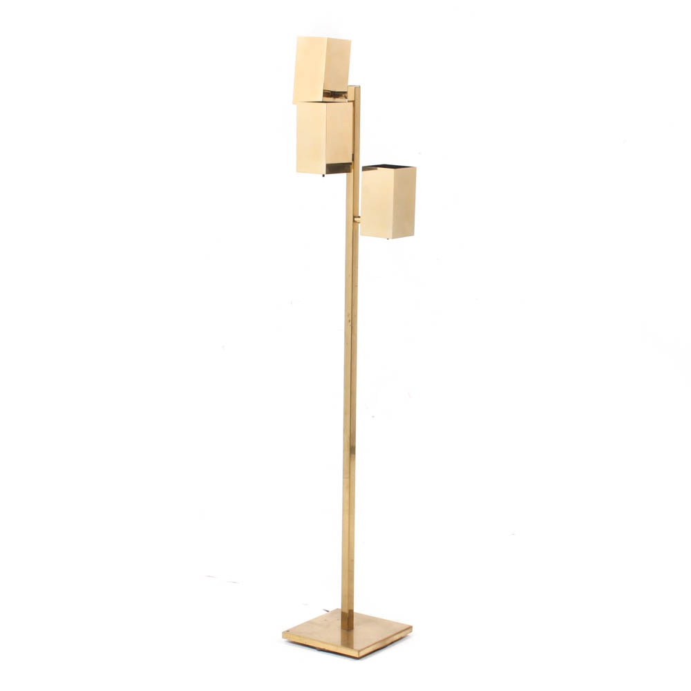 Koch & Lowy Three-Light Adjustable Brass Floor Lamp, 1970s