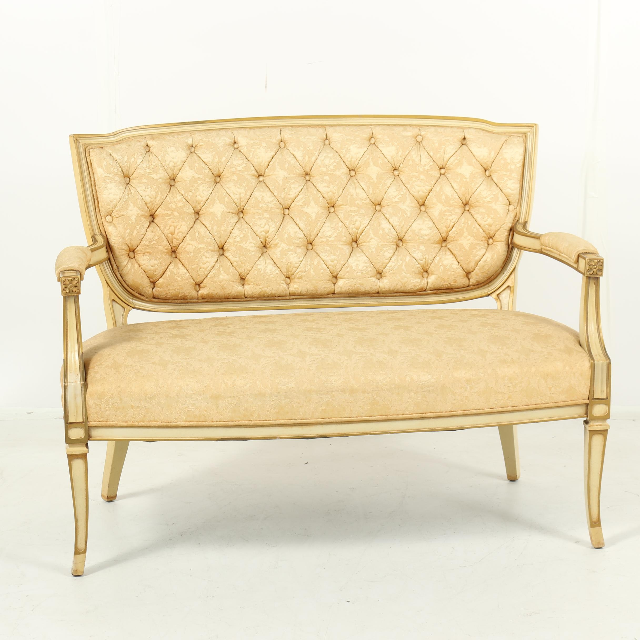 Louis XV Style Painted Wood Frame Upholstered Settee, Late 20th Century