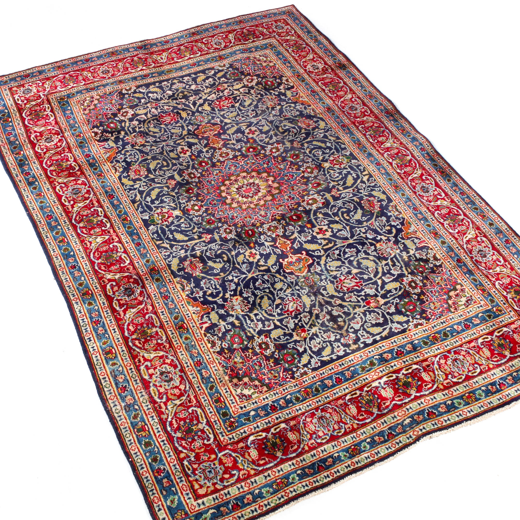 Hand-Knotted Persian Qum Rug, circa 1960