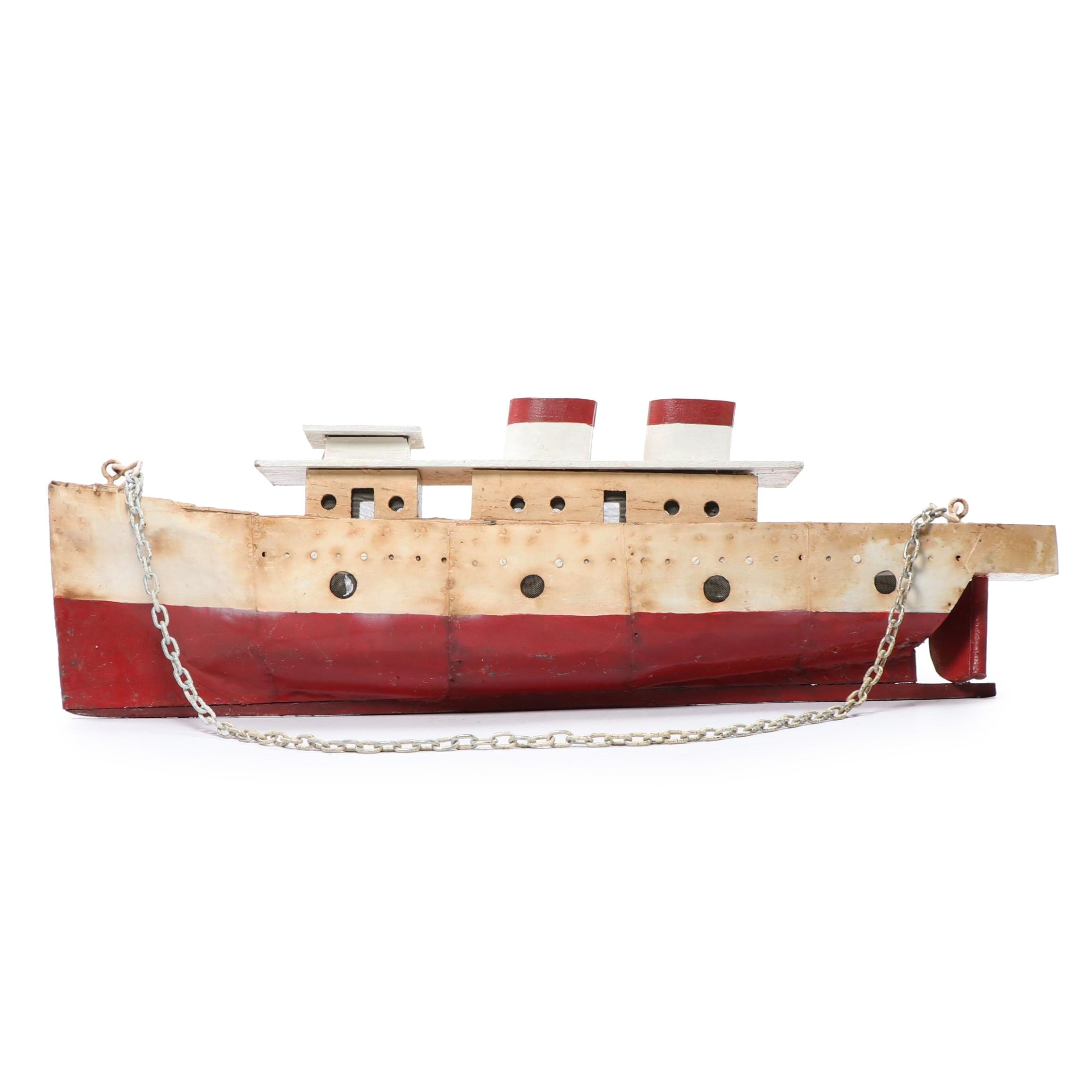 Large Handcrafted Steamship Model