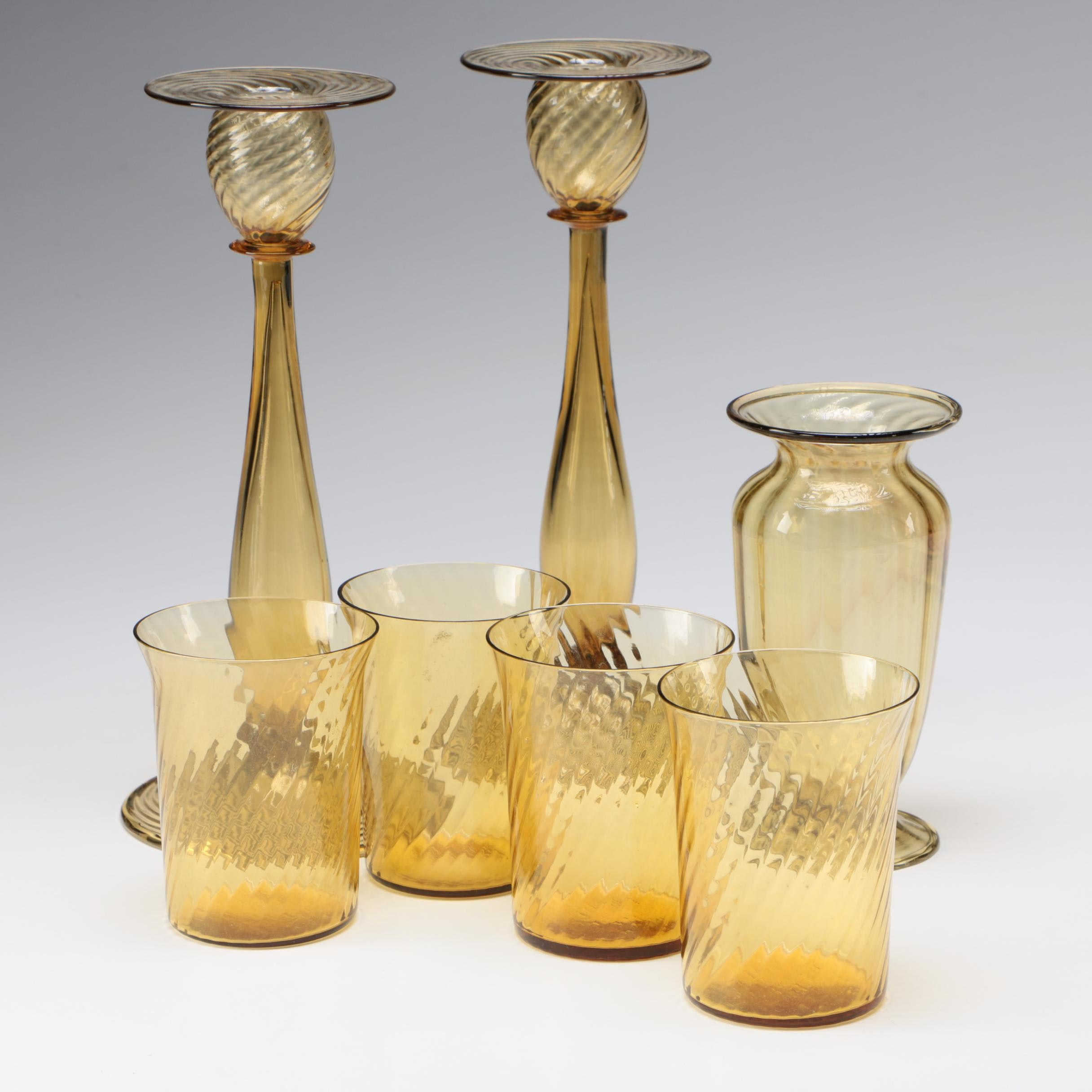 Steuben Amber Art Glass Candlesticks, Cups, and Vase, Early 20th Century