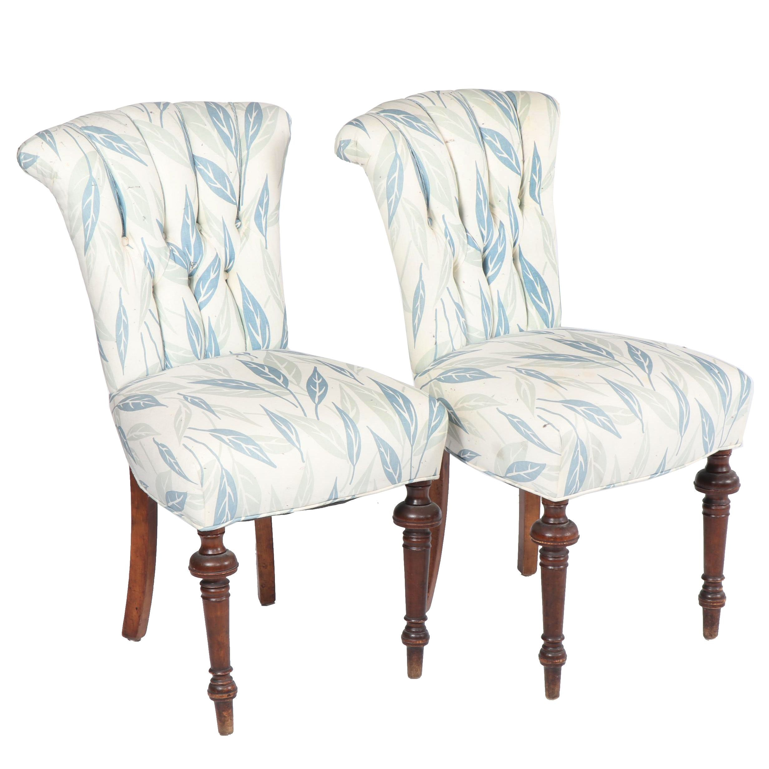 Federal Style Button-Tufted Upholstered Side Chairs, 21st Century