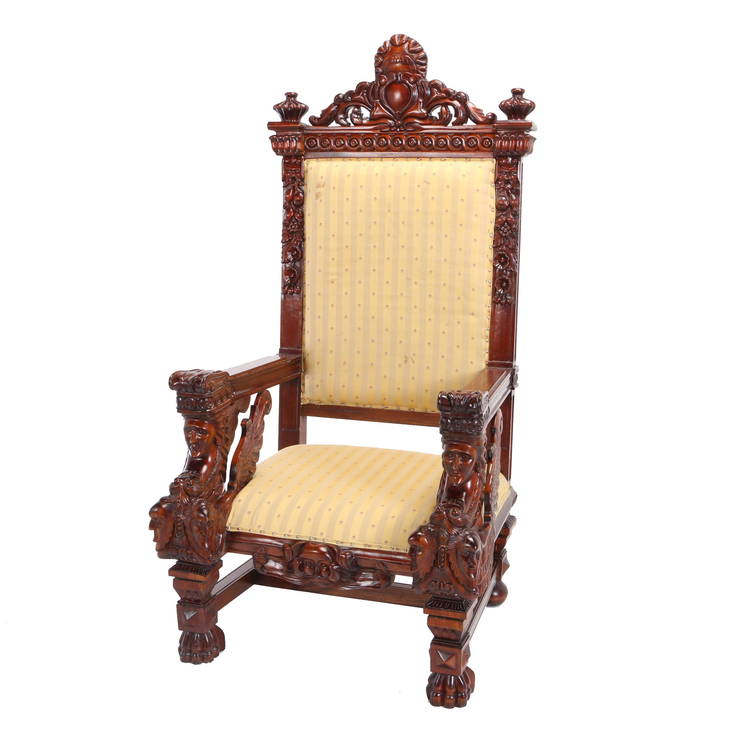 Baroque Style Mahogany Throne Chair, 20th Century