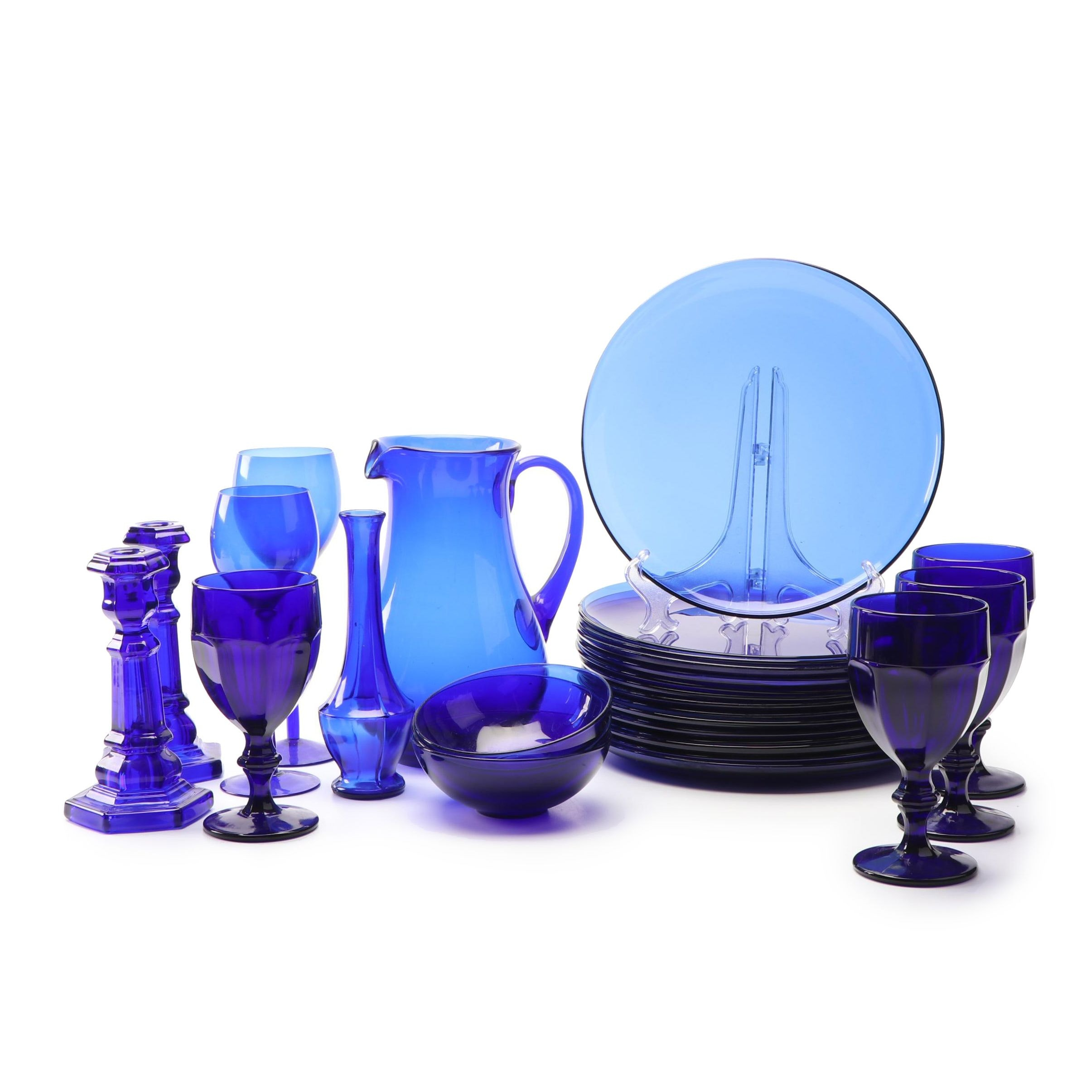 Cobalt Blue Glass Dinnerware with Goblets and Candlesticks featuring Libbey
