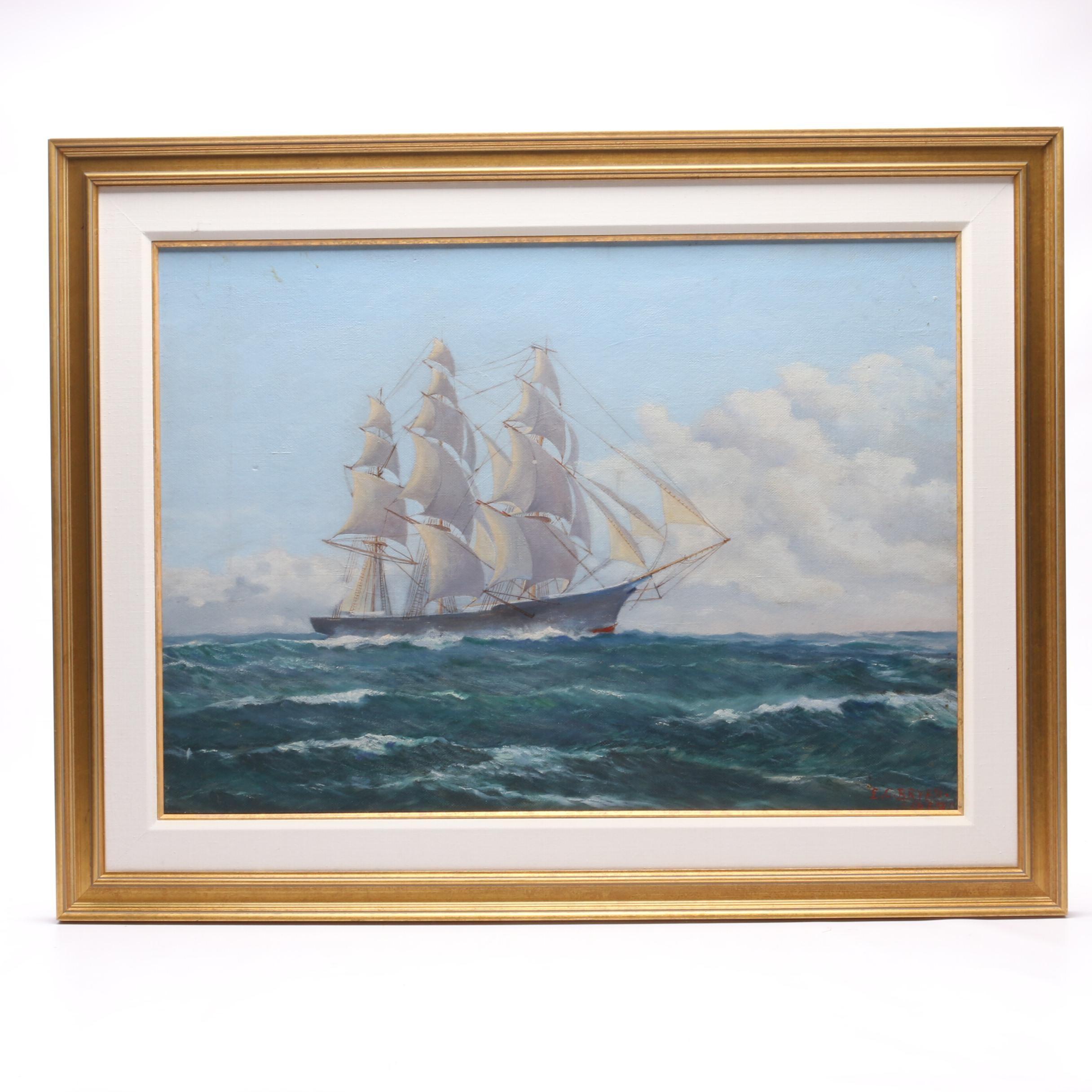"Edward C. Bryan 1953 Maritime Clipper Ship Oil Painting ""Wolf Hound"""