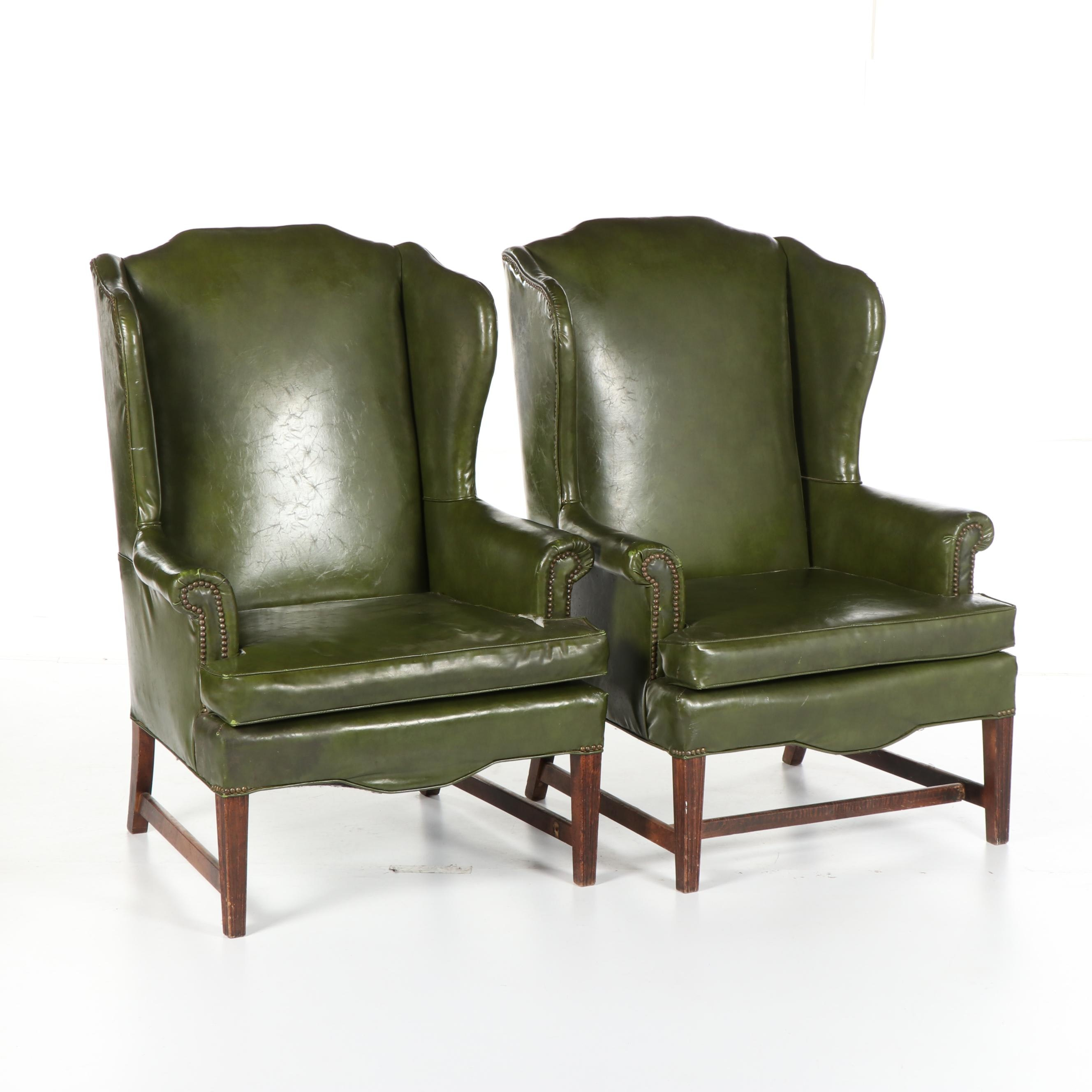 Federal Style Green Vinyl Upholstered Wingback Armchairs, Mid-20th Century